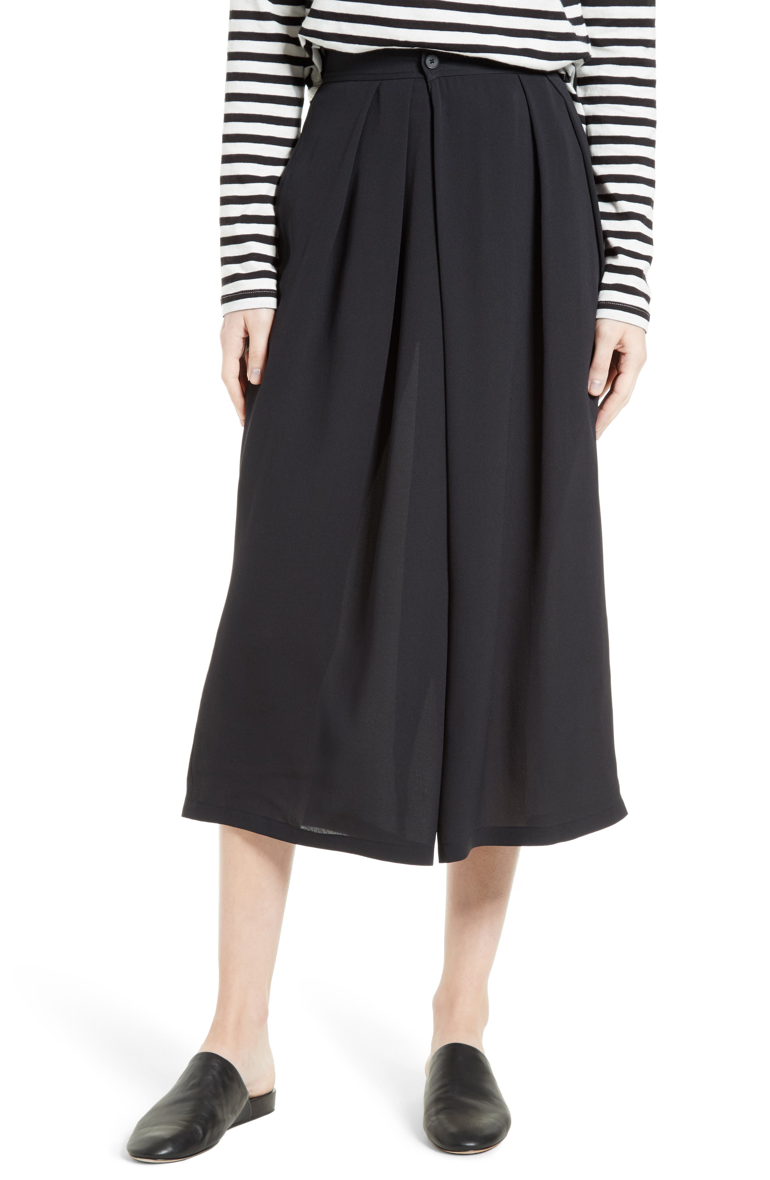 Vince Asymmetrical Pleated Silk Culottes