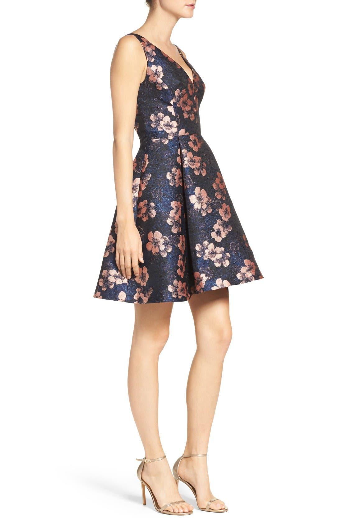Alternate Image 3  - Betsey Johnson Metallic Jacquard Fit & Flare Dress