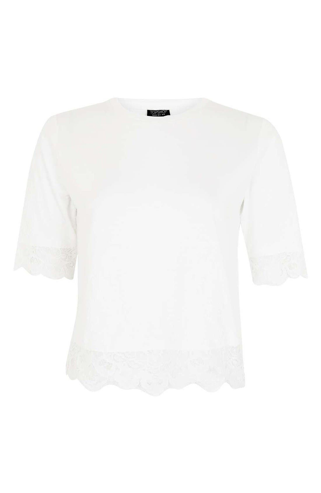 Alternate Image 4  - Topshop Lace Trim Tee