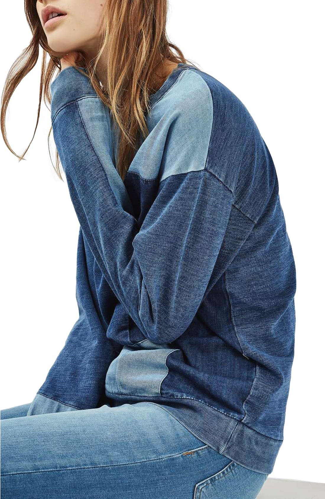 Alternate Image 1 Selected - Topshop Denim Patchwork Sweatshirt