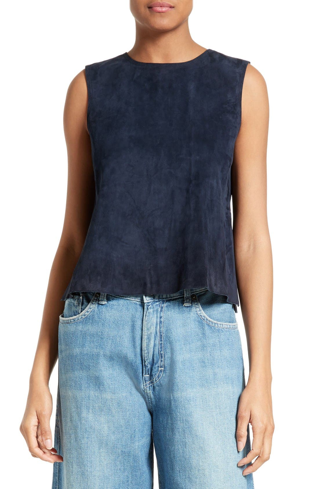 VINCE Crop Suede Shell