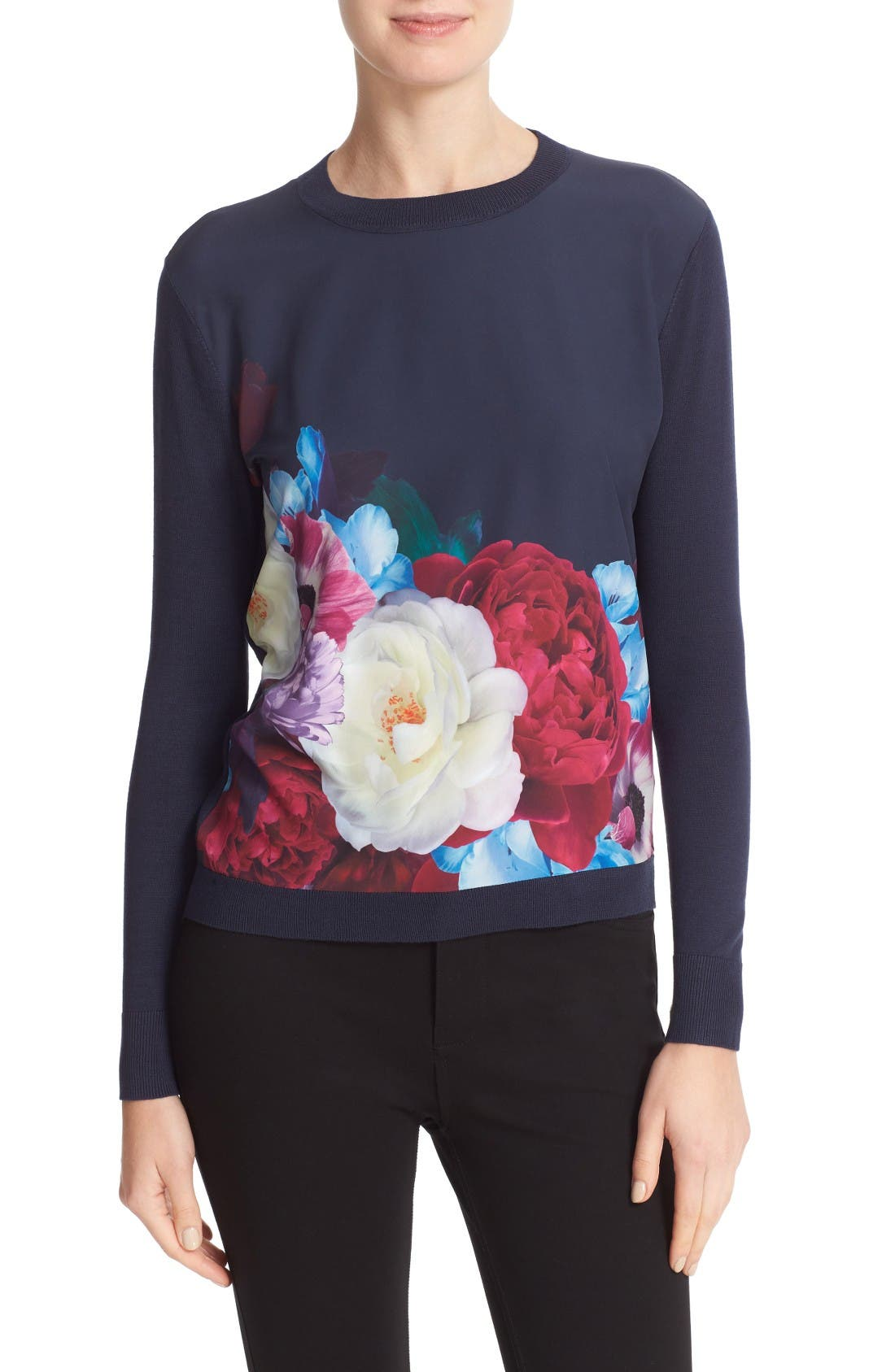 Main Image - Ted Baker London Islii Blushing Bouquet Woven Front Sweater