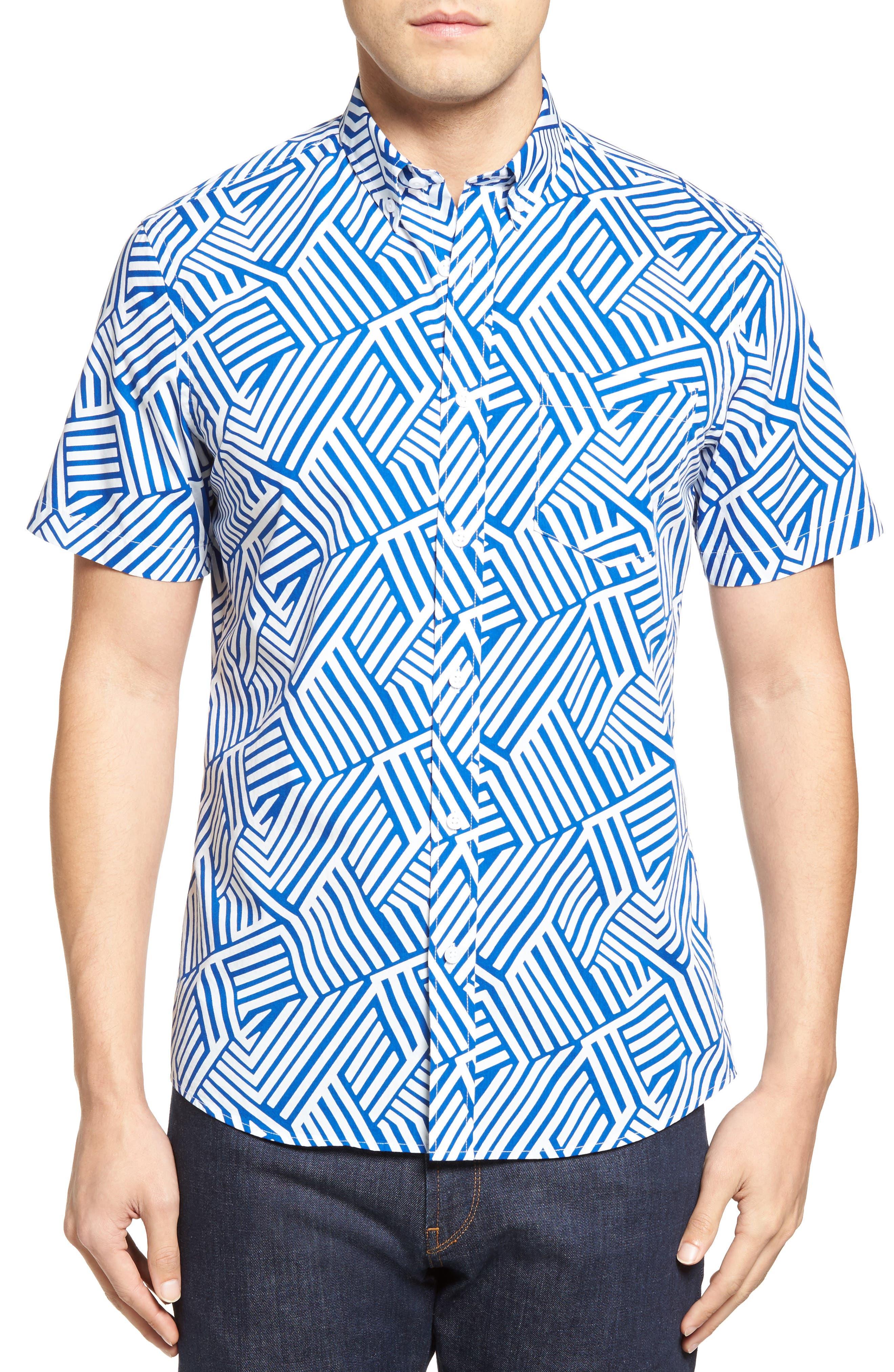 Nordstrom Men's Shop Slim Fit Geo Print Sport Shirt