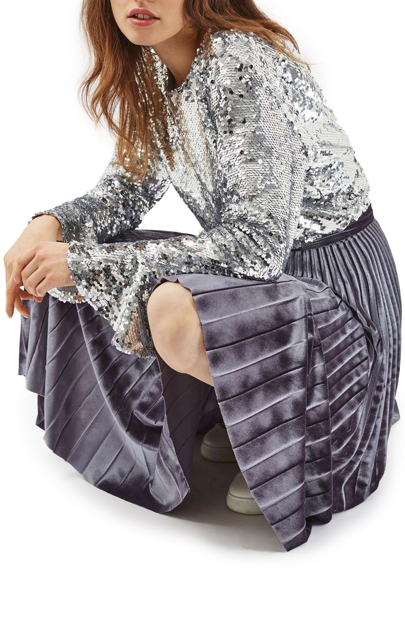 Alternate Image 6  - Topshop Velvet Pleated Midi Skirt