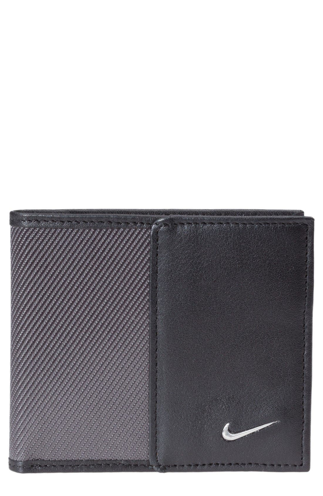 NIKE Leather & Tech Twill Money Clip Card