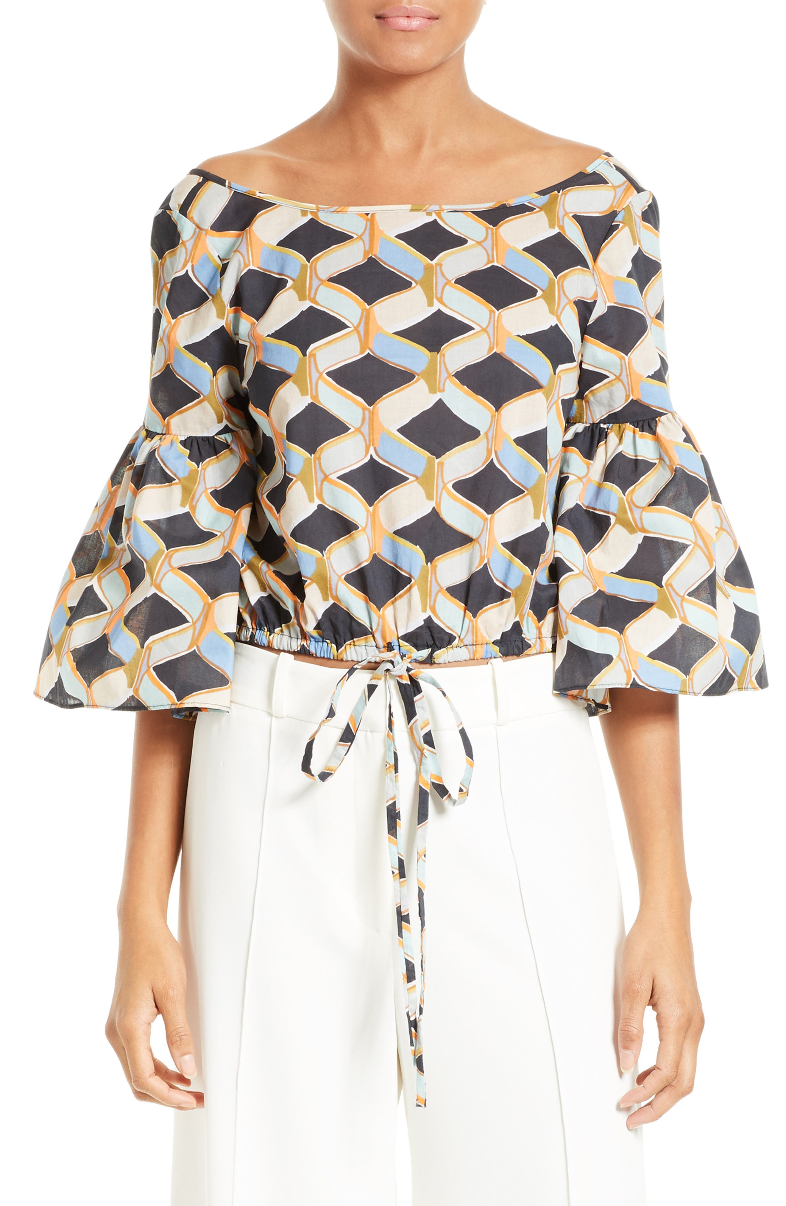 MILLY Lydia Chain Print Top