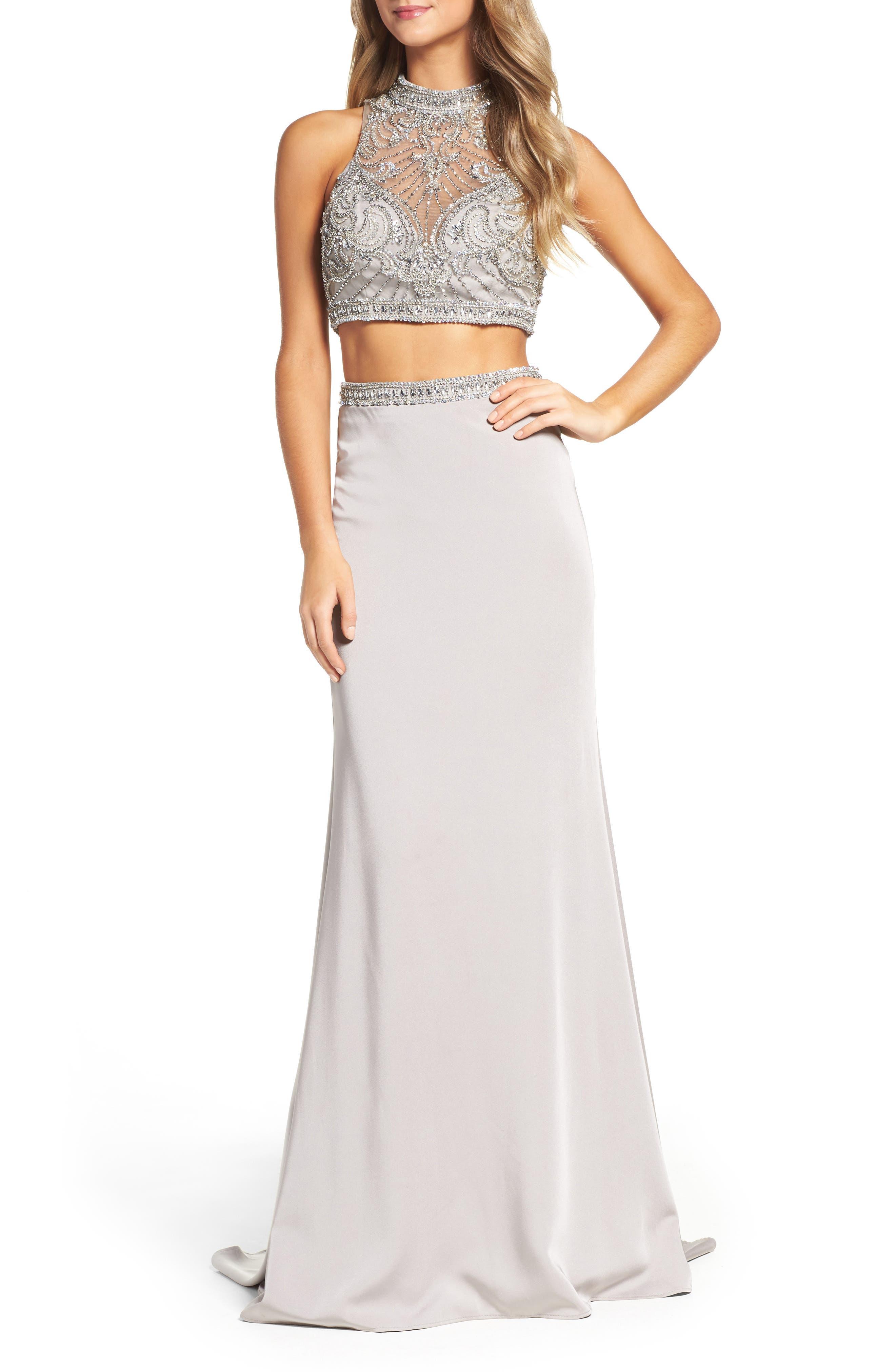 LA FEMME Embellished Two-Piece Gown