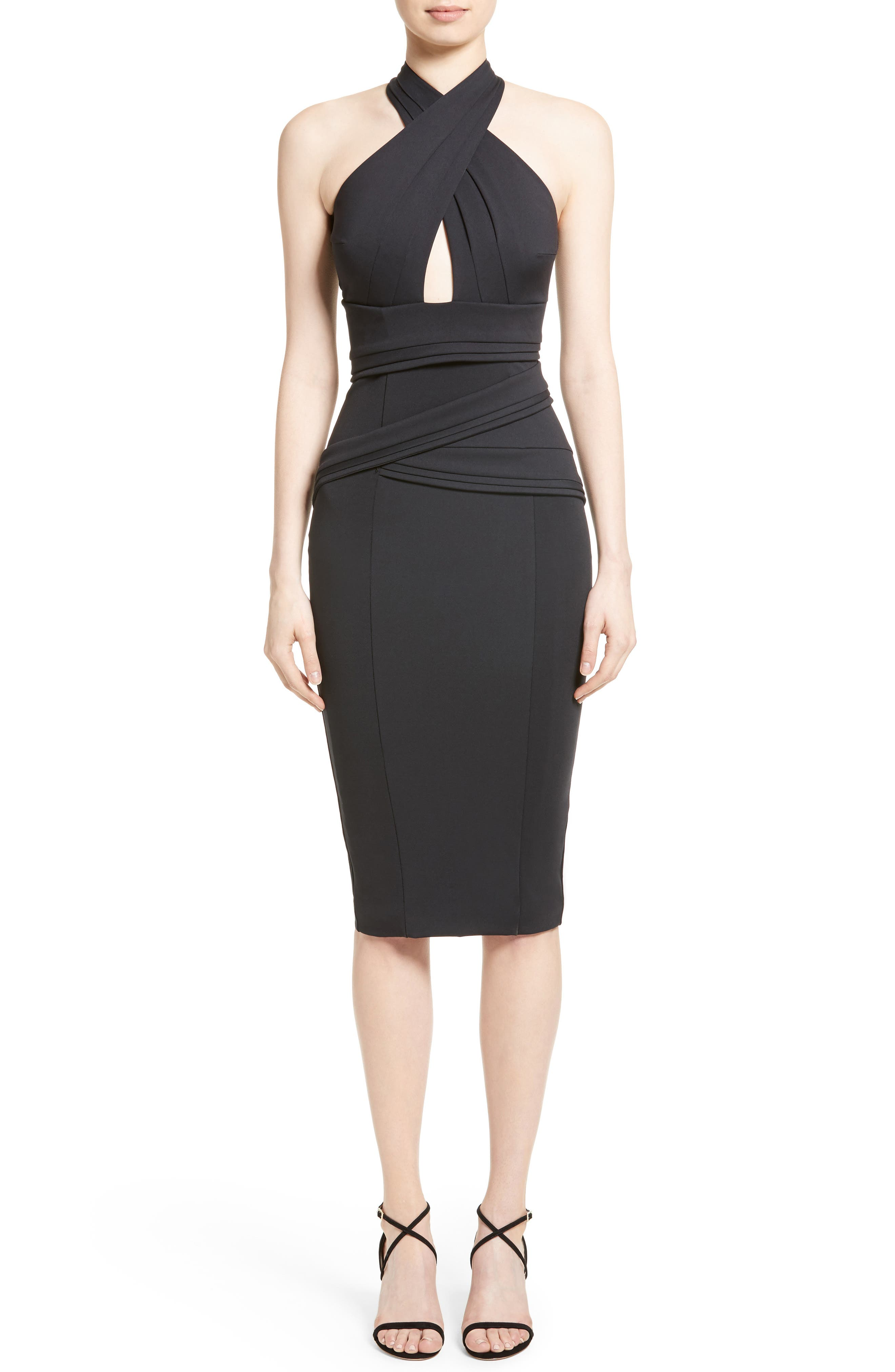 Rachel Gilbert Crossover Halter Scuba Sheath Dress