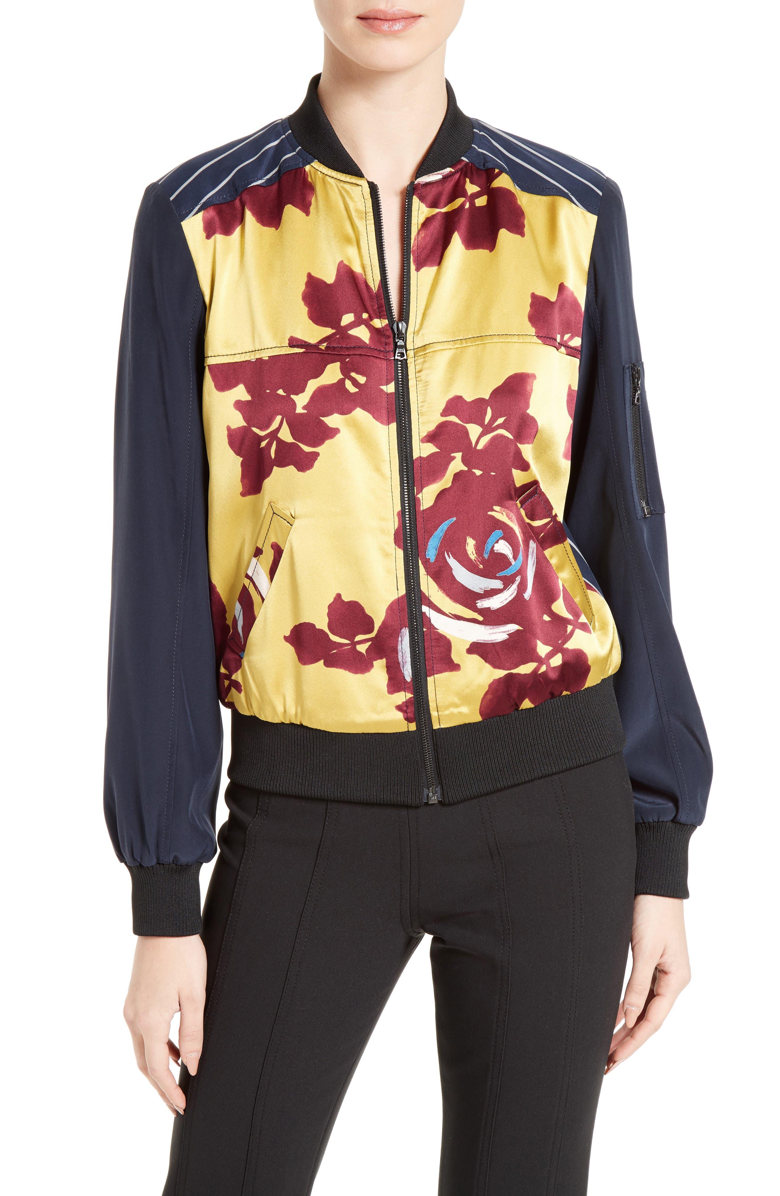 Alternate Image 1 Selected - Cinq à Sept Harper Silk Satin Bomber Jacket