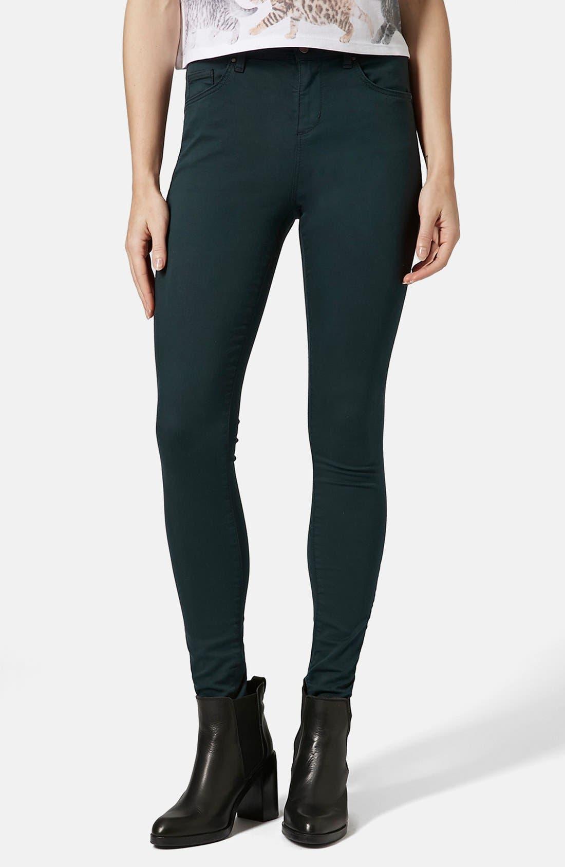 Main Image - Topshop Moto 'Leigh' High Rise Skinny Jeans (Teal) (Regular & Short)