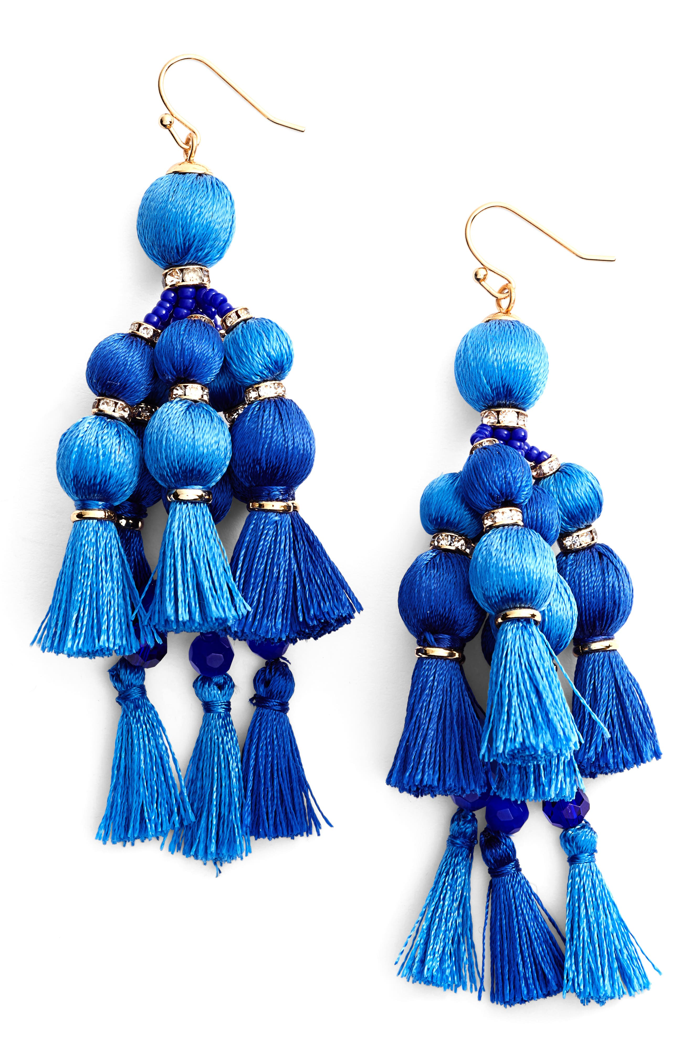 Main Image - kate spade new york pretty pom tassel drop earrings