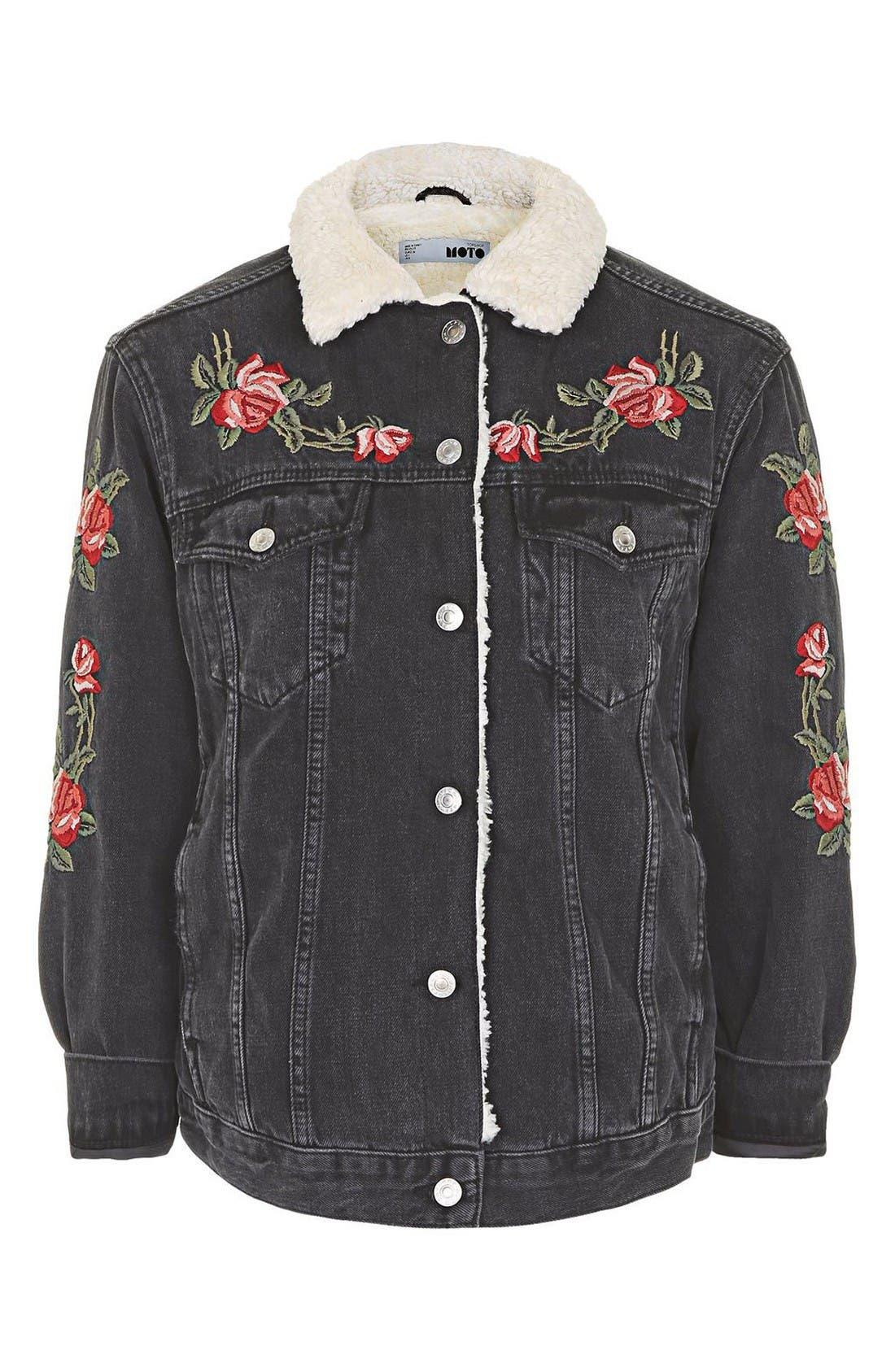Alternate Image 5  - Topshop Embroidered Borg Denim Jacket