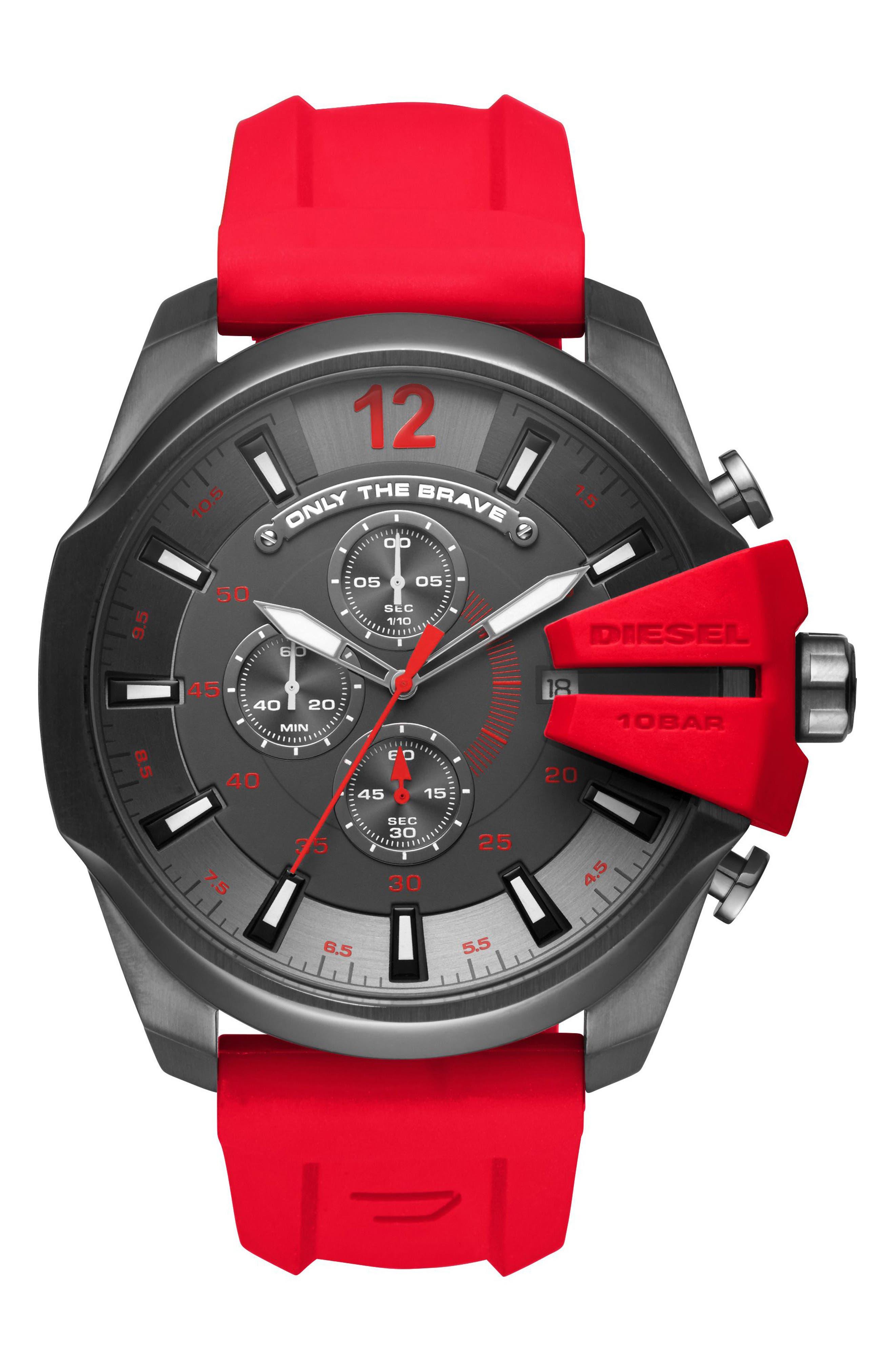 DIESEL® Mega Chief Chronograph Silicone Strap Watch, 51mm