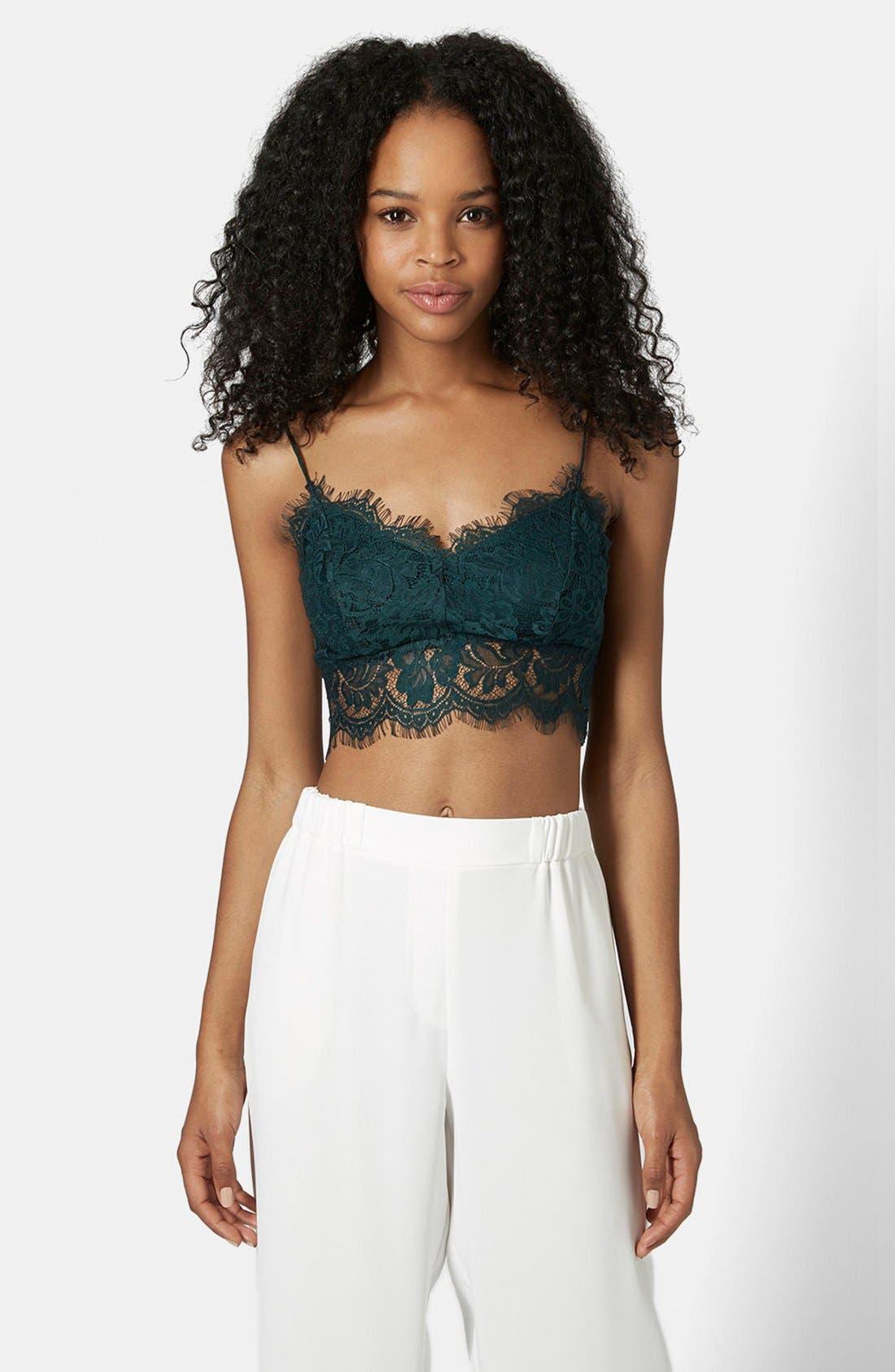 Main Image - Topshop Lace Mesh Bralette