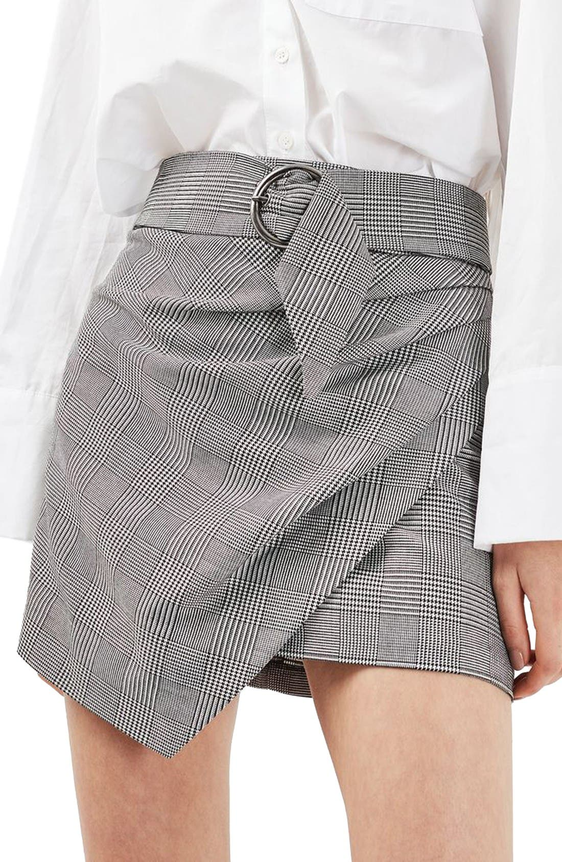 Alternate Image 1 Selected - Topshop Belted Glen Plaid Miniskirt