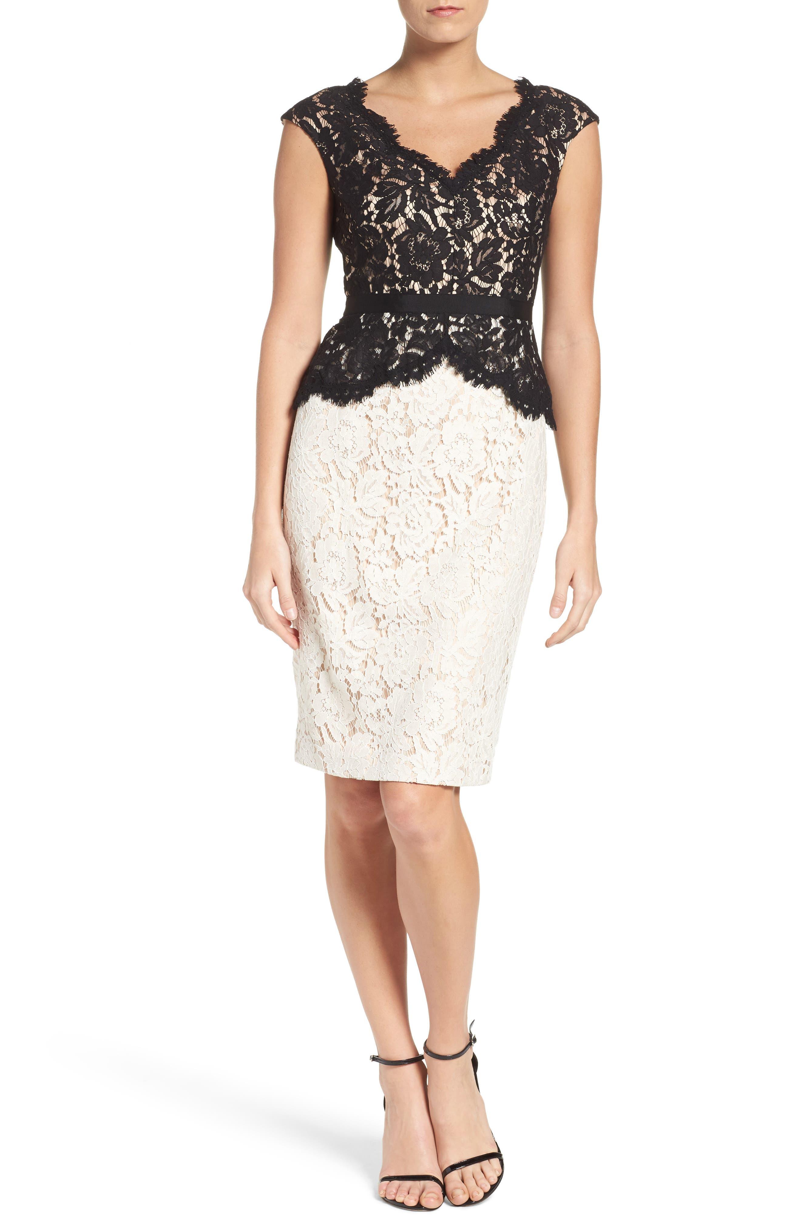 Alternate Image 4  - Eliza J Lace Sheath Dress