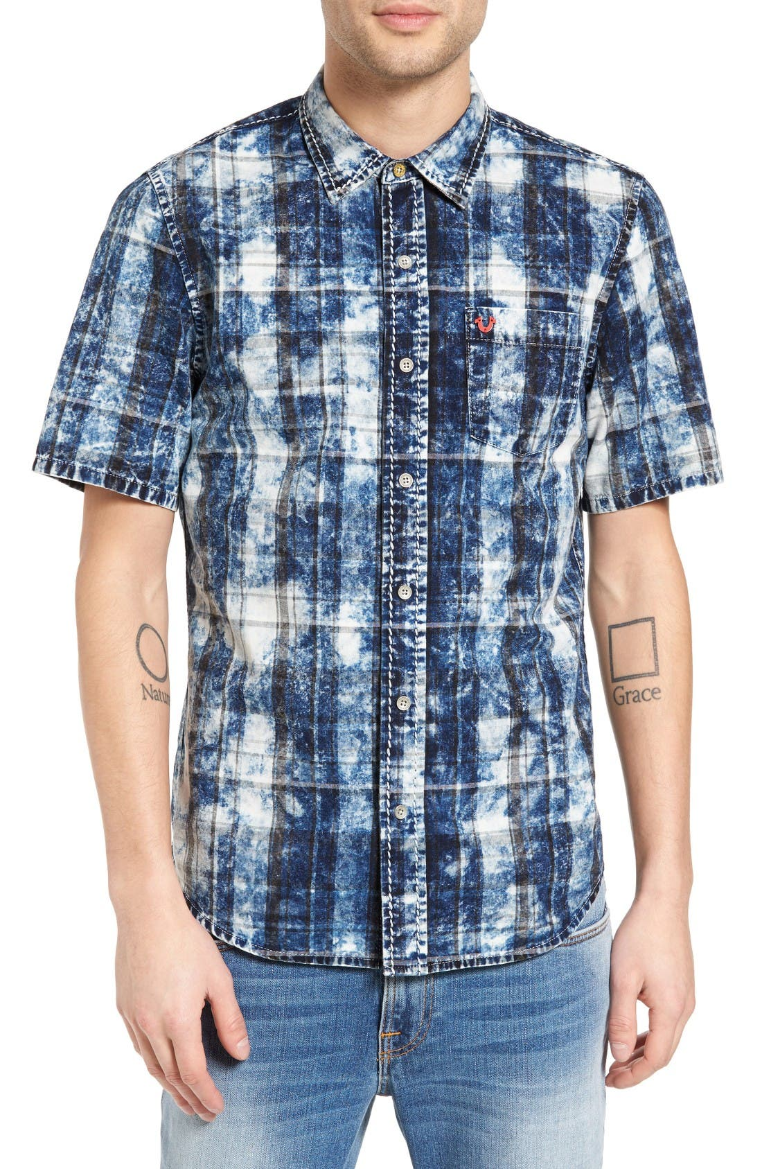 True Religion Brand Jeans Bleached Plaid Denim Shirt