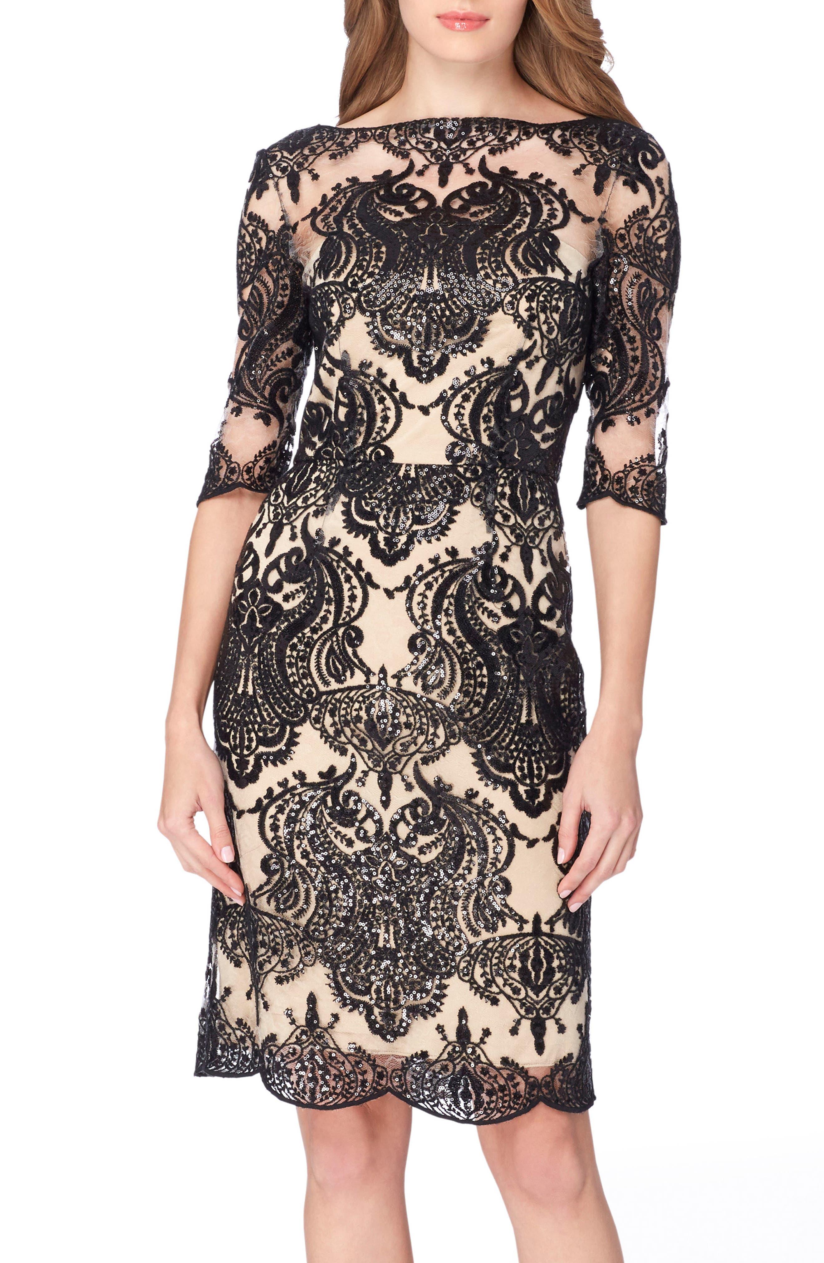 TAHARI Sequin Illusion Sheath Dress