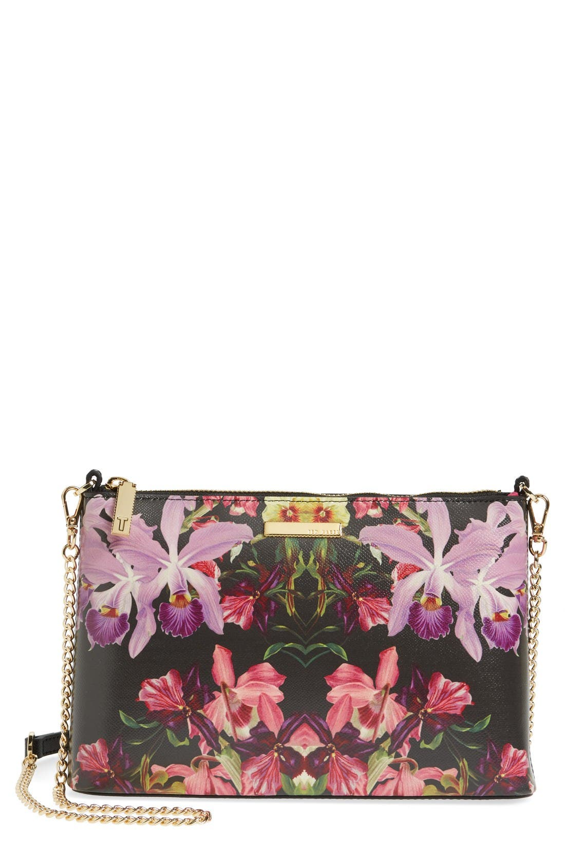 Main Image - Ted Baker London Lost Gardens Leather Crossbody Bag