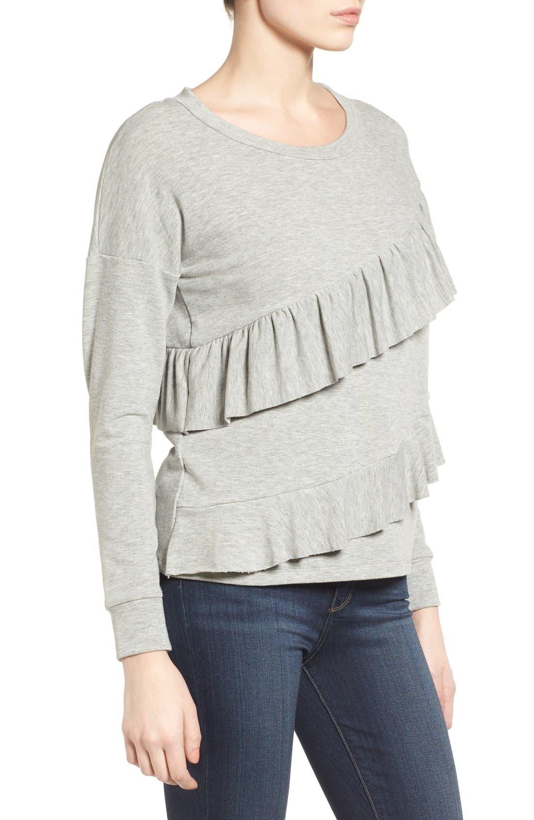 Alternate Image 4  - Pleione French Terry Ruffle Sweatshirt (Regular & Petite)