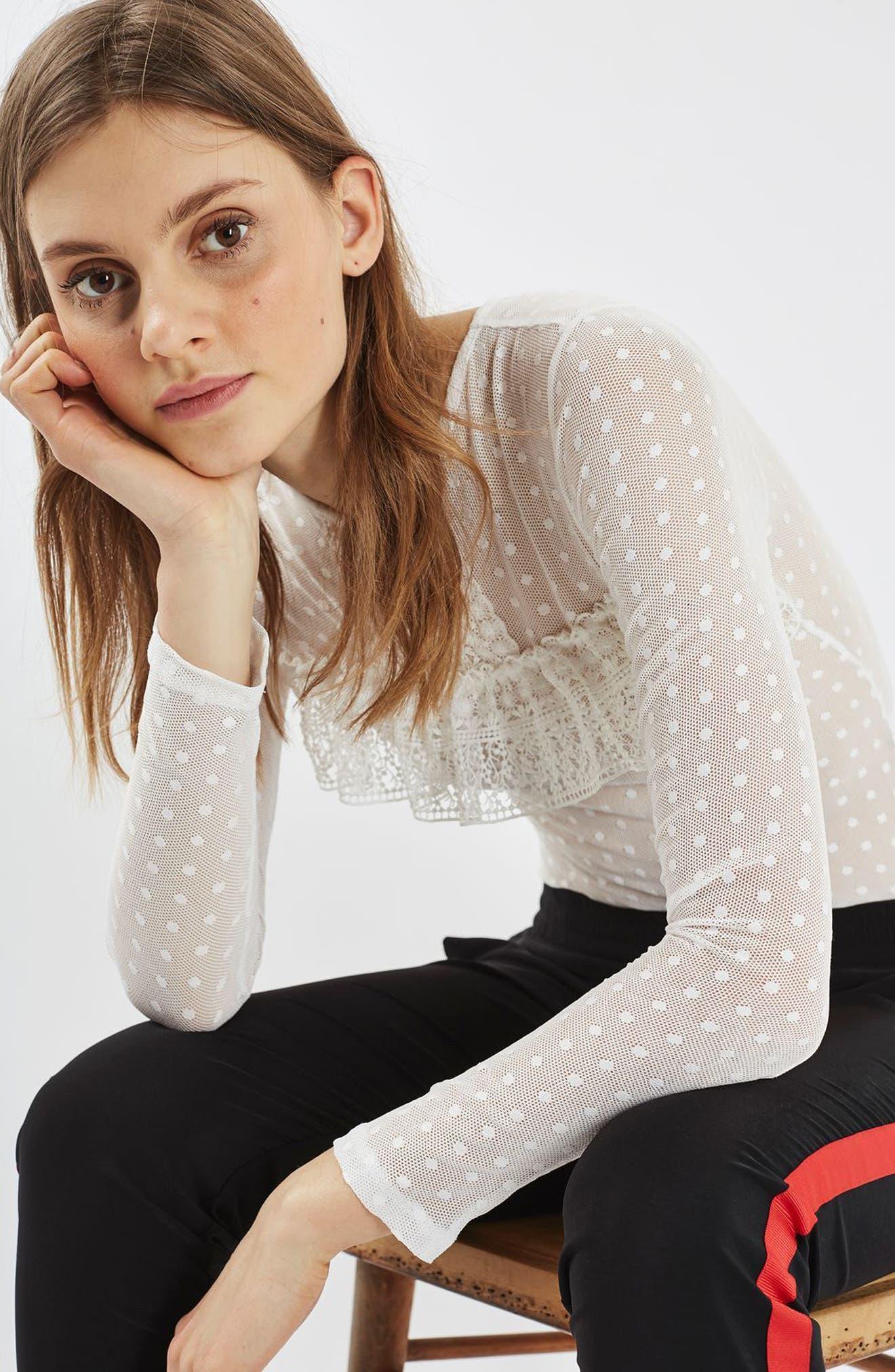 Main Image - Topshop Polka Dot Lace Bodysuit
