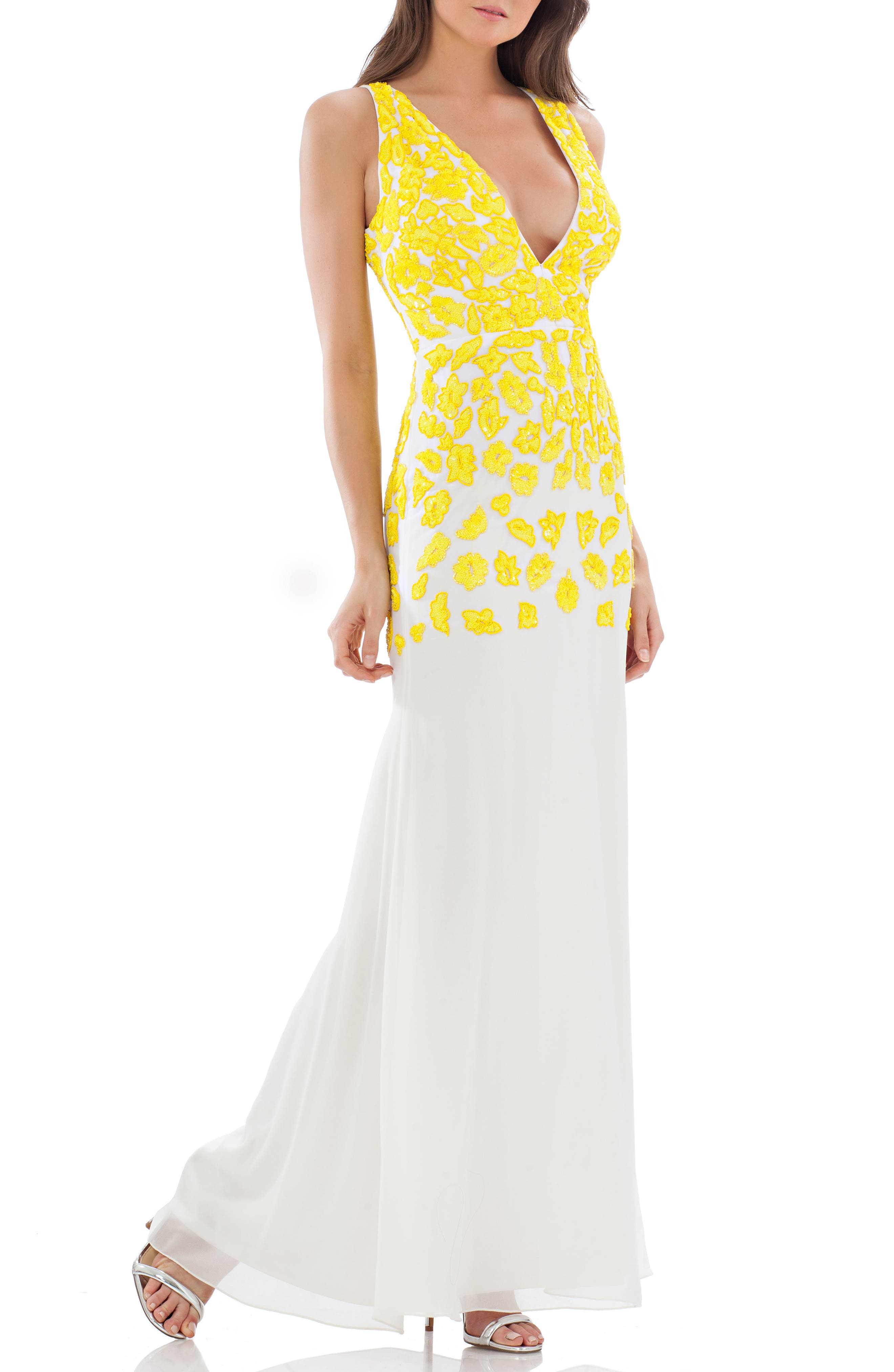 JS Collections Floral Lace Mermaid Gown