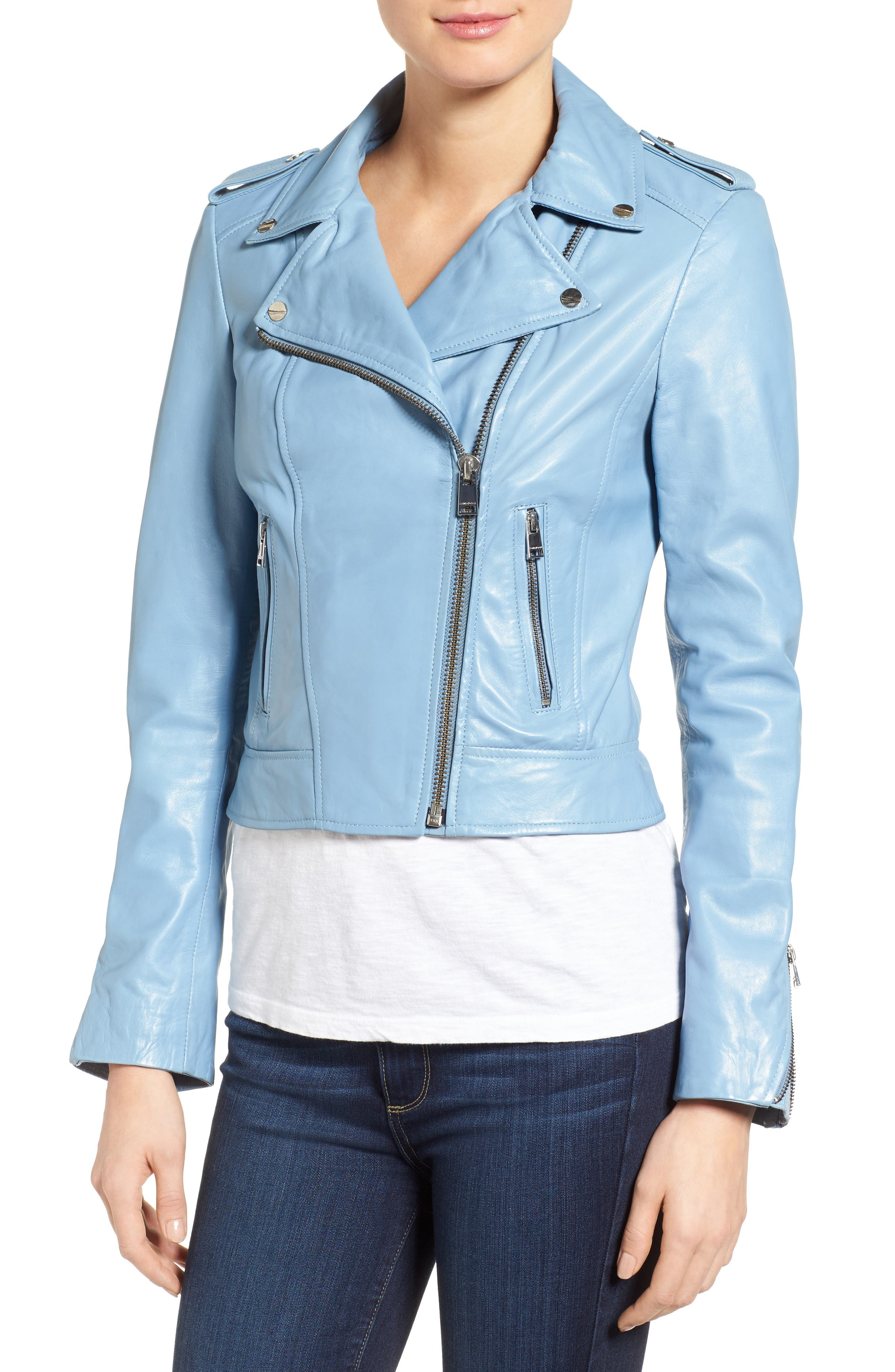 Alternate Image 4  - LAMARQUE Donna Lambskin Leather Moto Jacket
