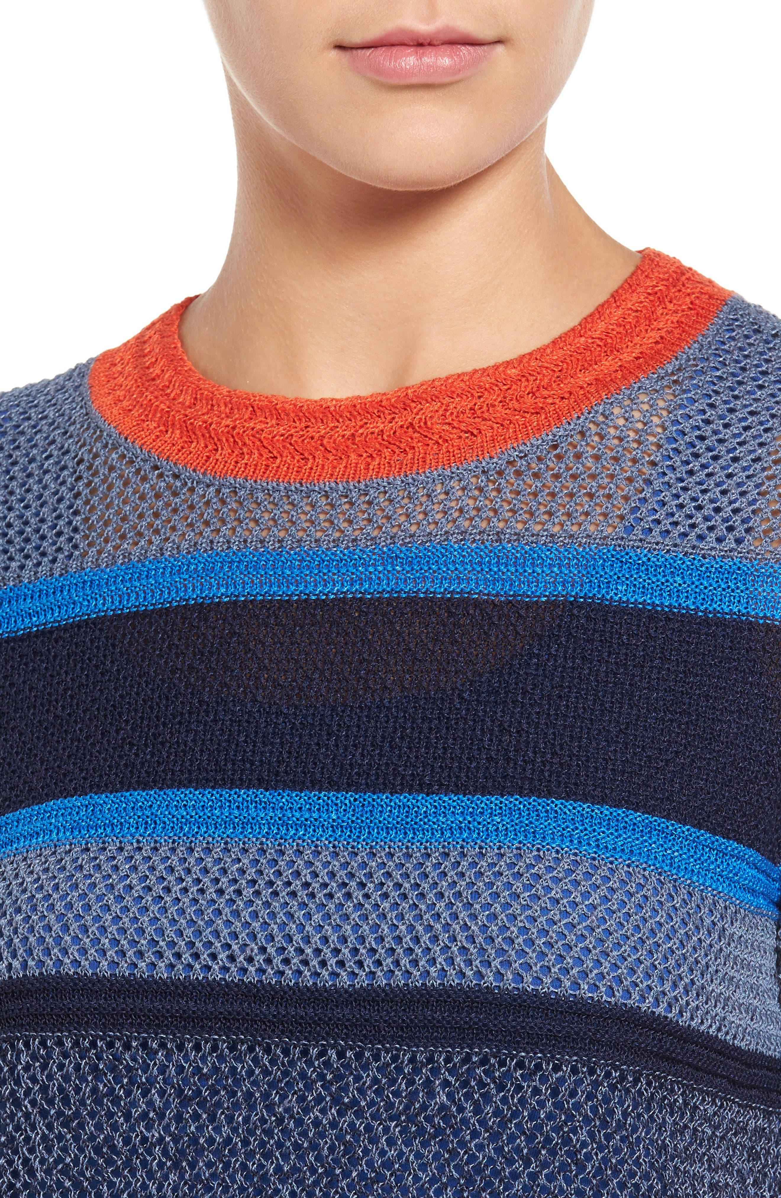 Alternate Image 4  - Halogen® Stripe Open Stitch Sweater (Regular & Petite)