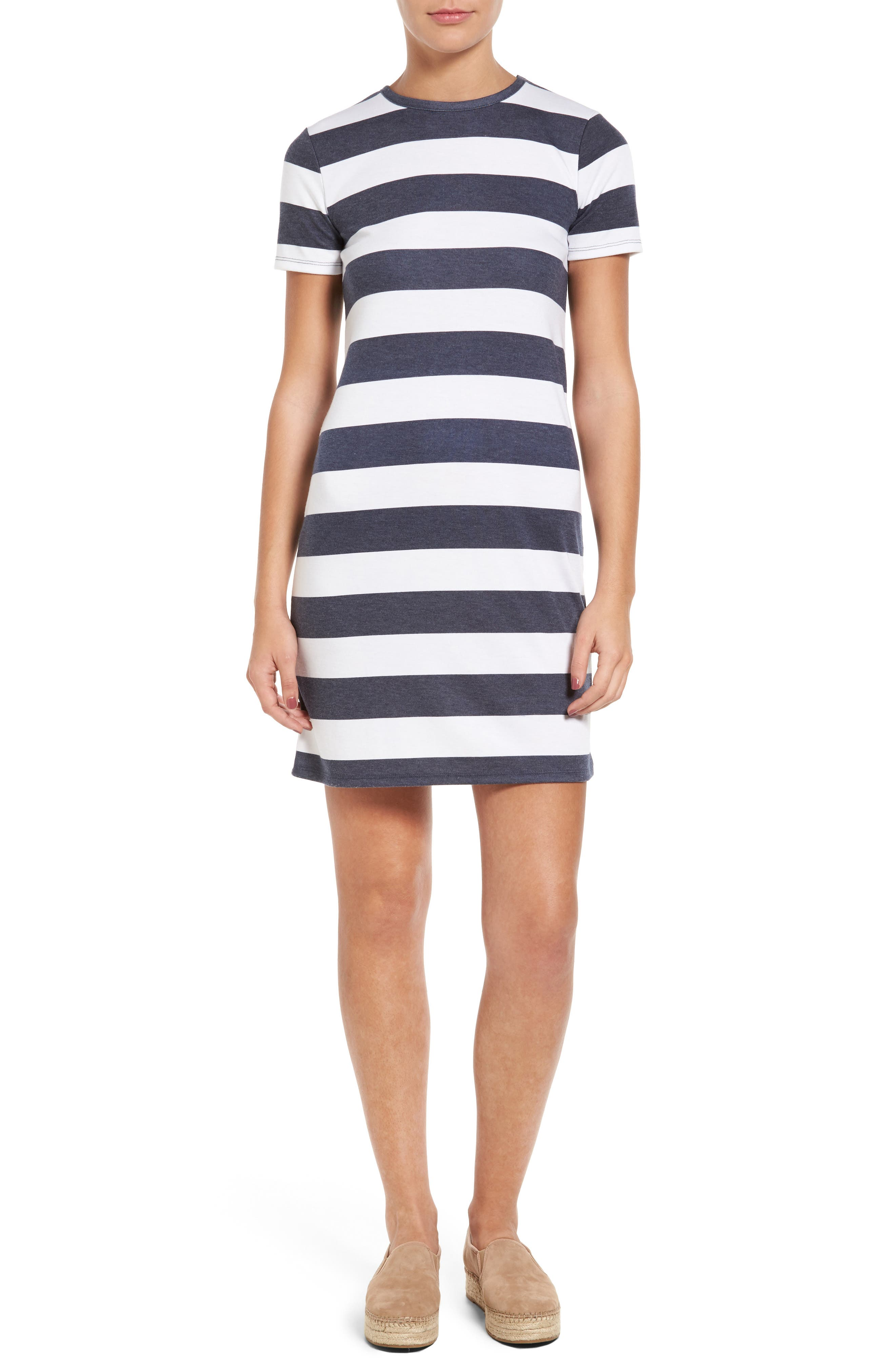 Alternate Image 1 Selected - MICHAEL Michael Kors Rugby Stripe T-Shirt Dress (Regular & Petite)