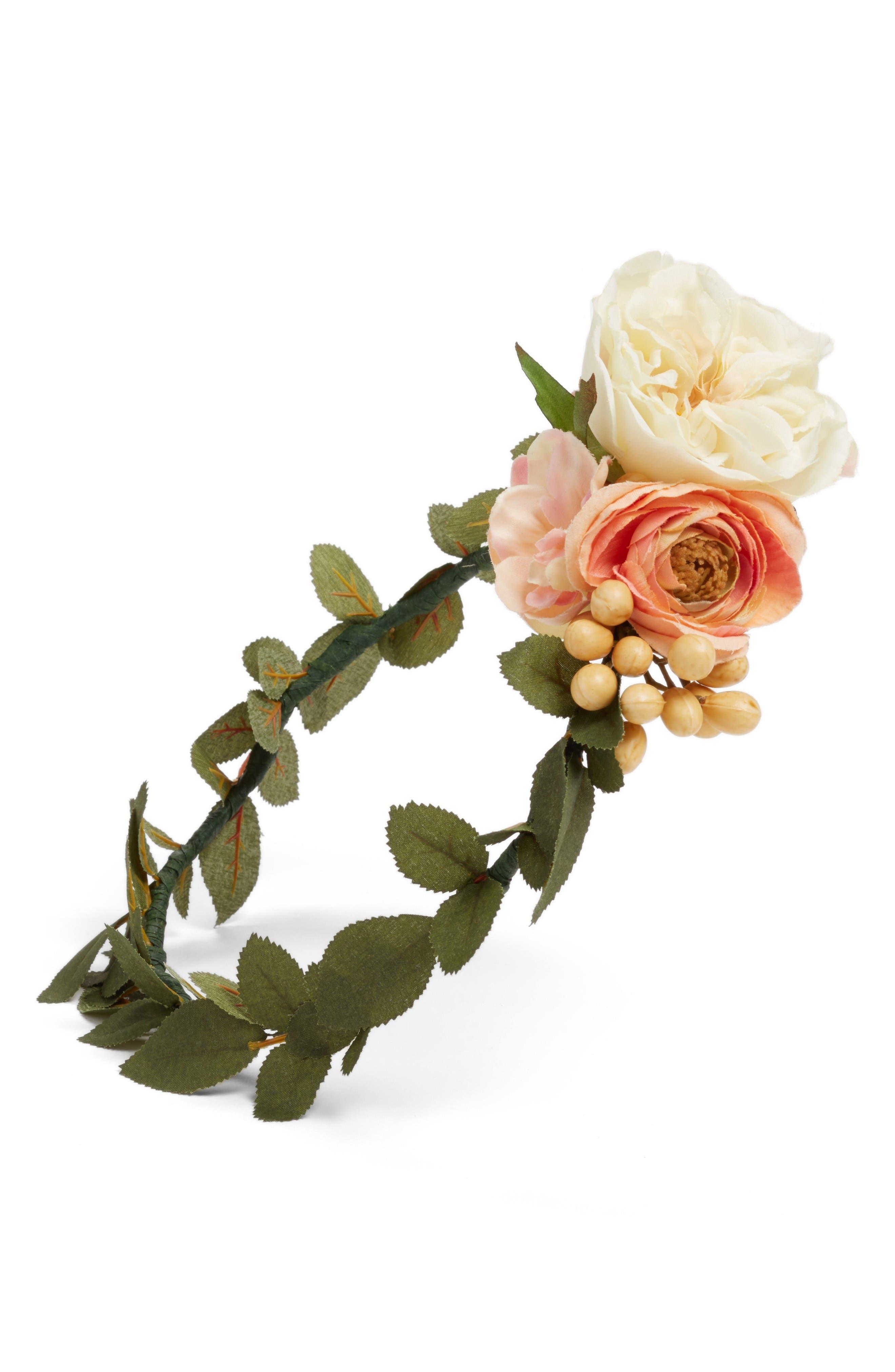 Alternate Image 3  - Emily Rose Flower Crowns Peach Berries Silk Flower Crown
