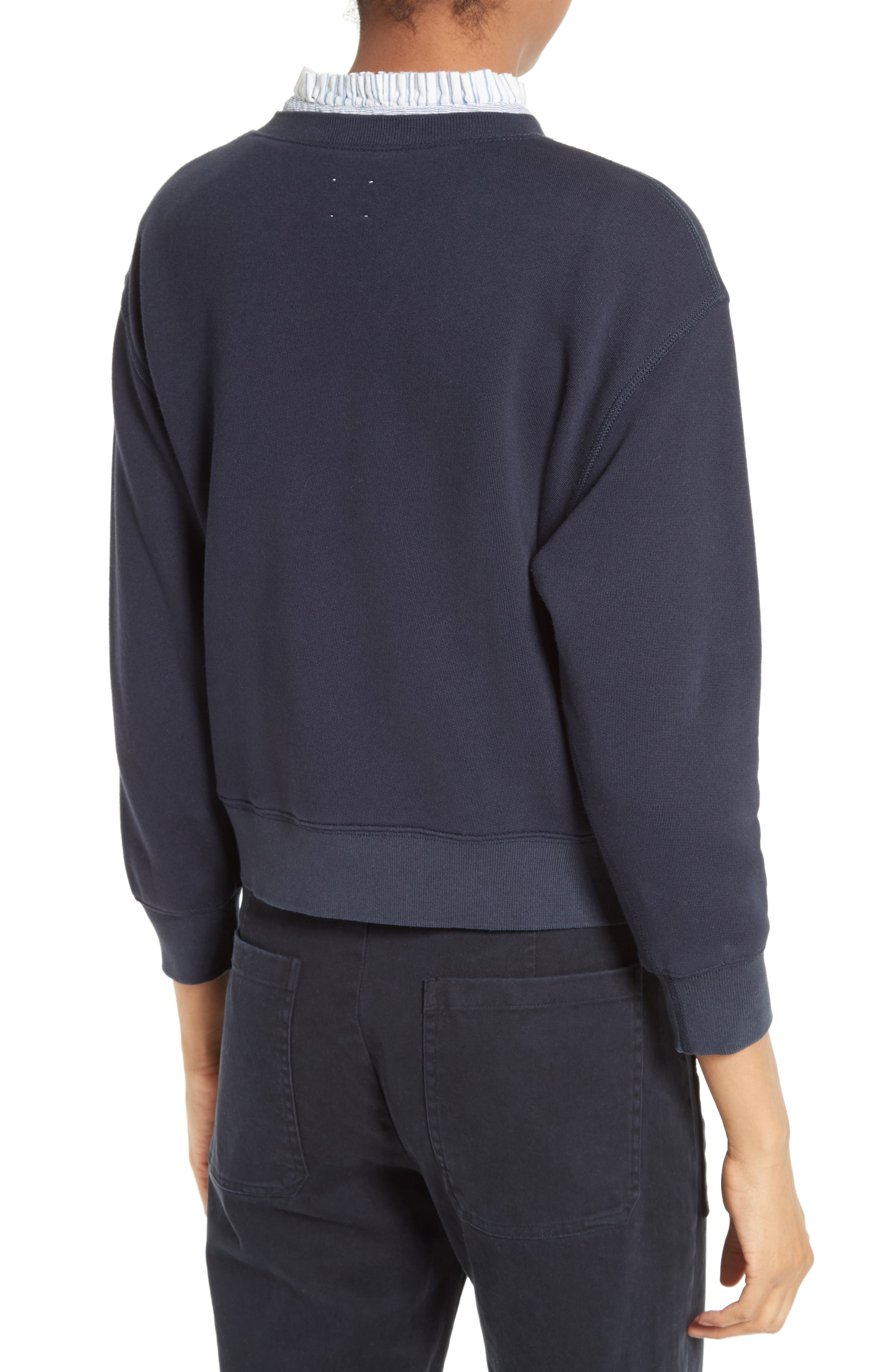Alternate Image 3  - La Vie Rebecca Taylor Logo Embroidered French Terry Pullover
