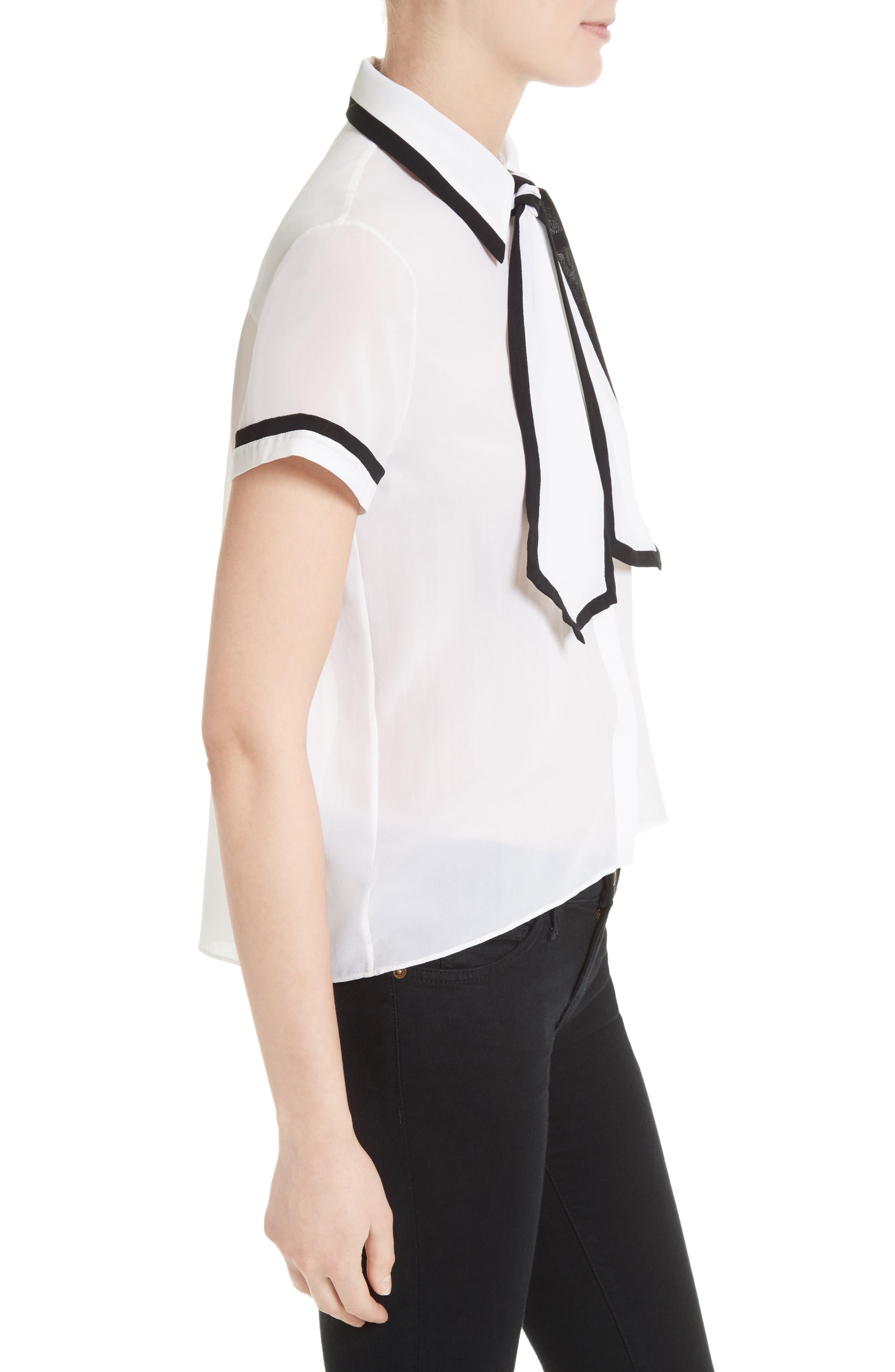 Alternate Image 3  - Alice + Olivia Oswald Contrast Trim Silk Necktie Blouse