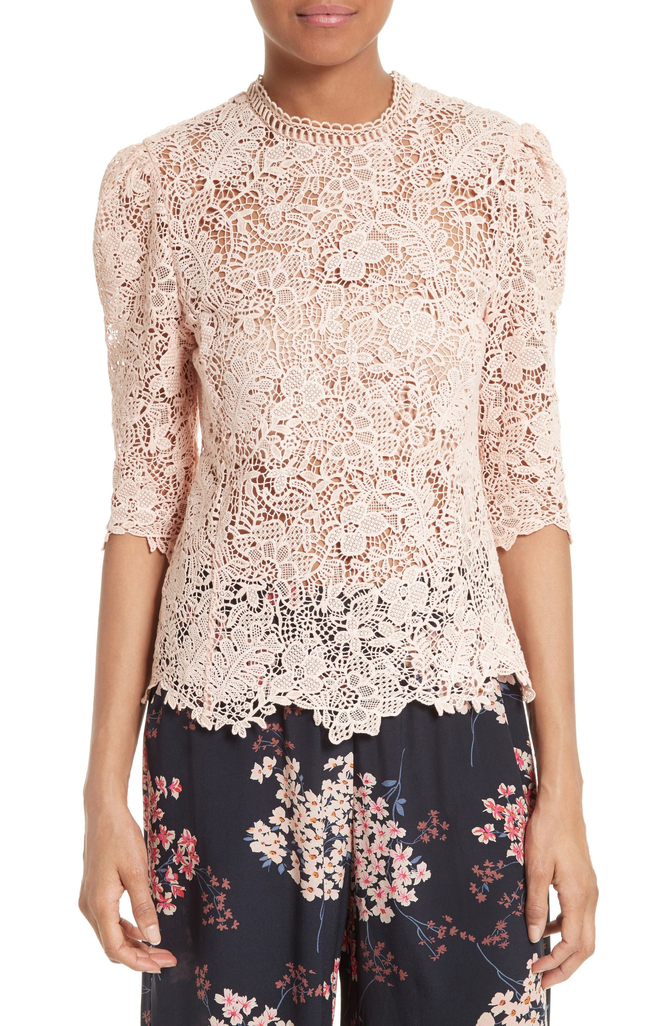Alternate Image 1 Selected - Rebecca Taylor Arella Lace Top