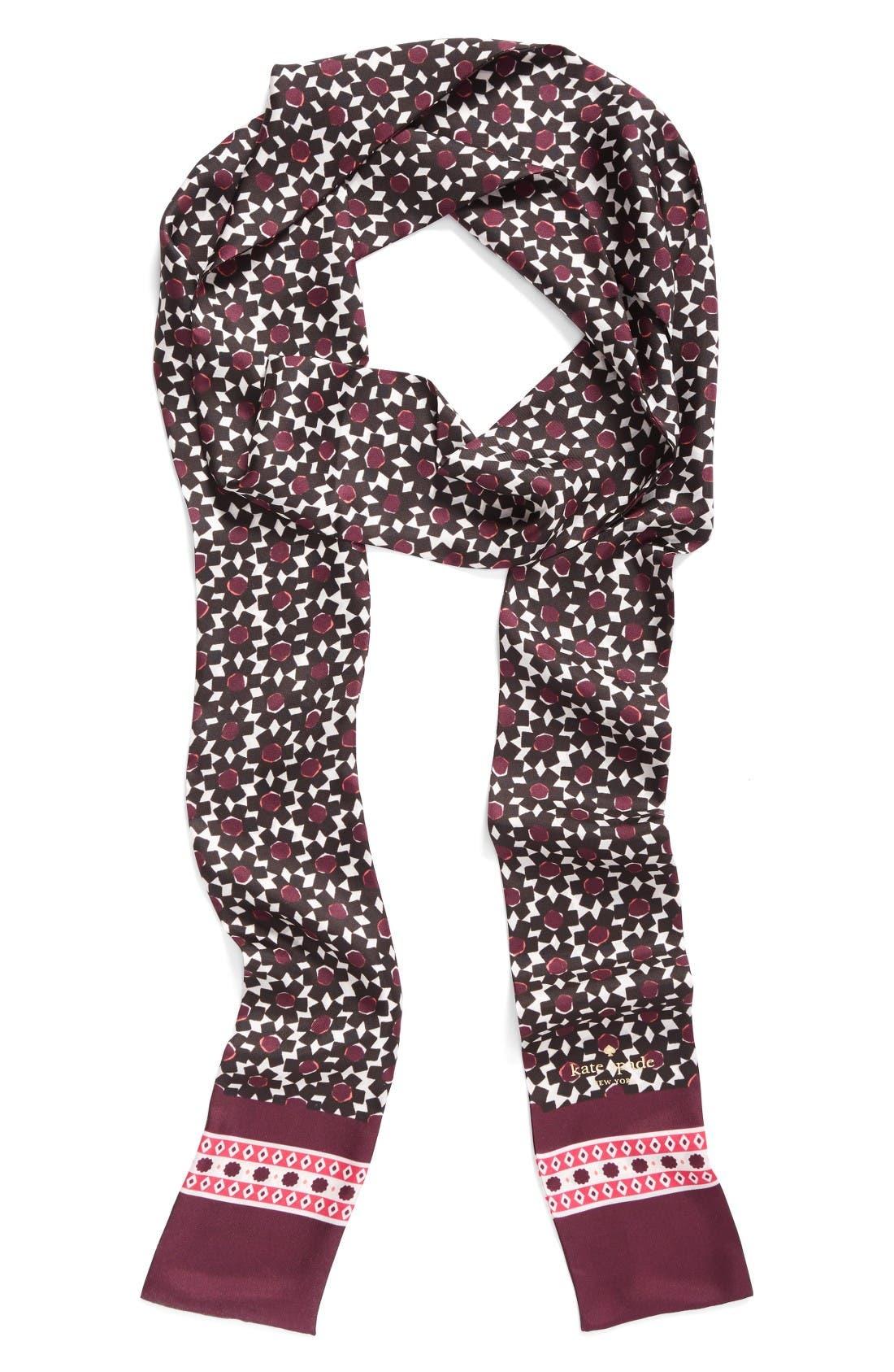 Main Image - kate spade new york floral tile silk skinny scarf