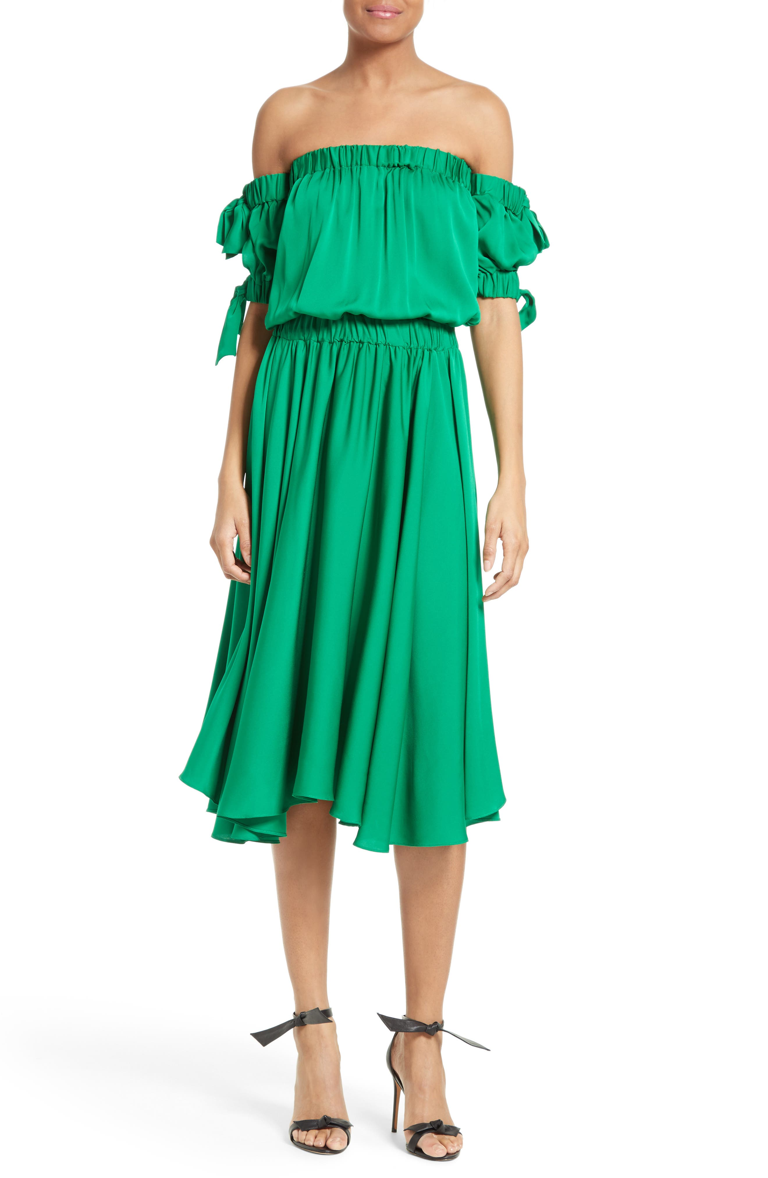 MILLY Zoey Off the Shoulder Stretch Silk Midi