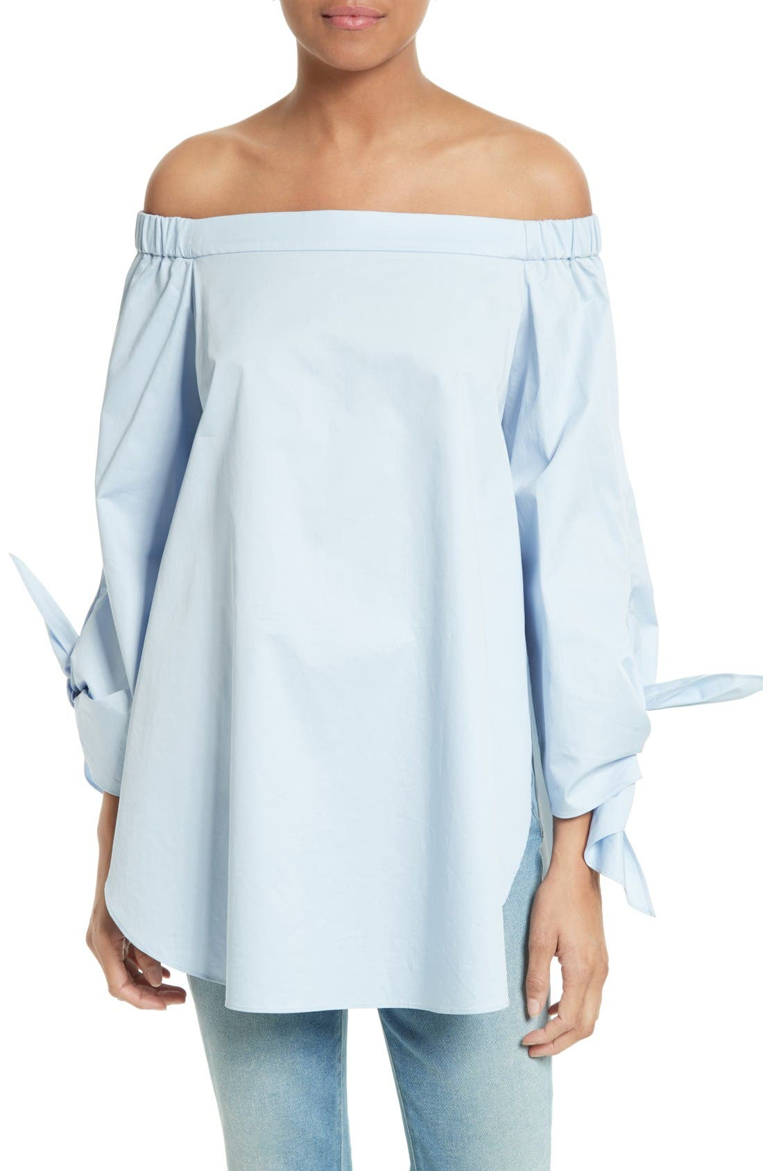 Tibi Off the Shoulder Cotton Tunic