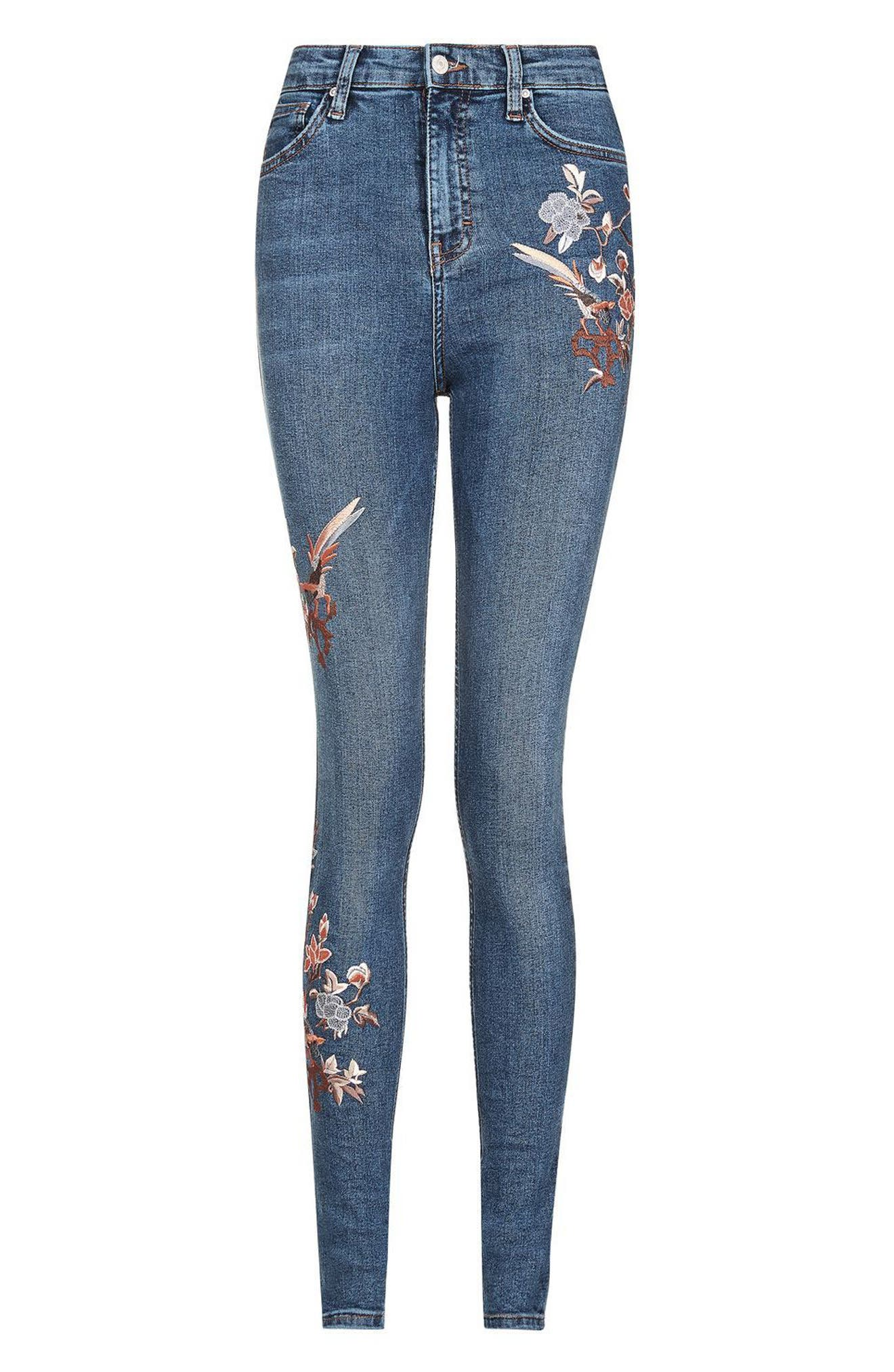 Alternate Image 4  - Topshop Jamie Embroidered Skinny Jeans (Tall)