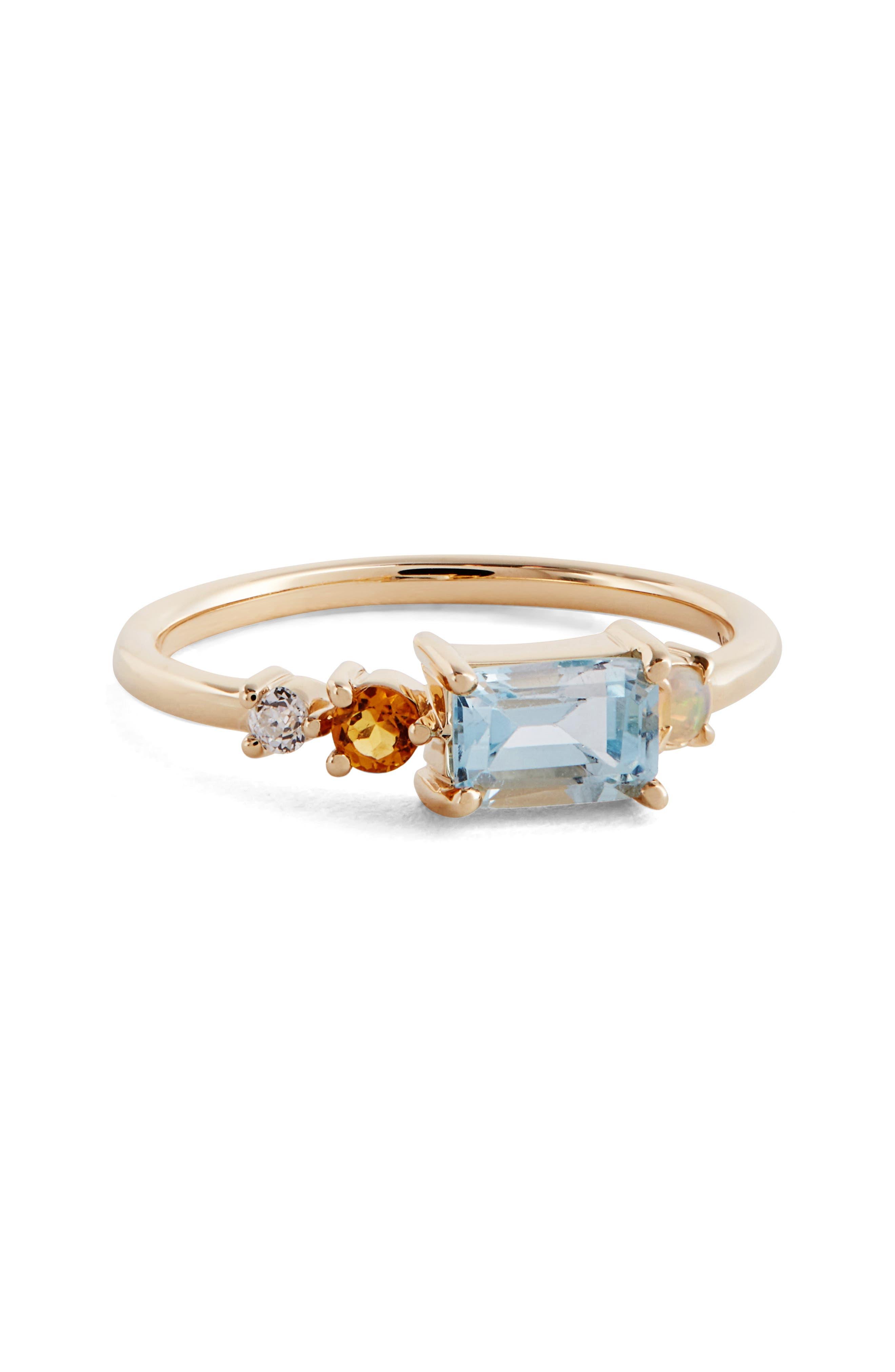 MOCIUN Topaz, Opal, Citrine & Diamond Ring