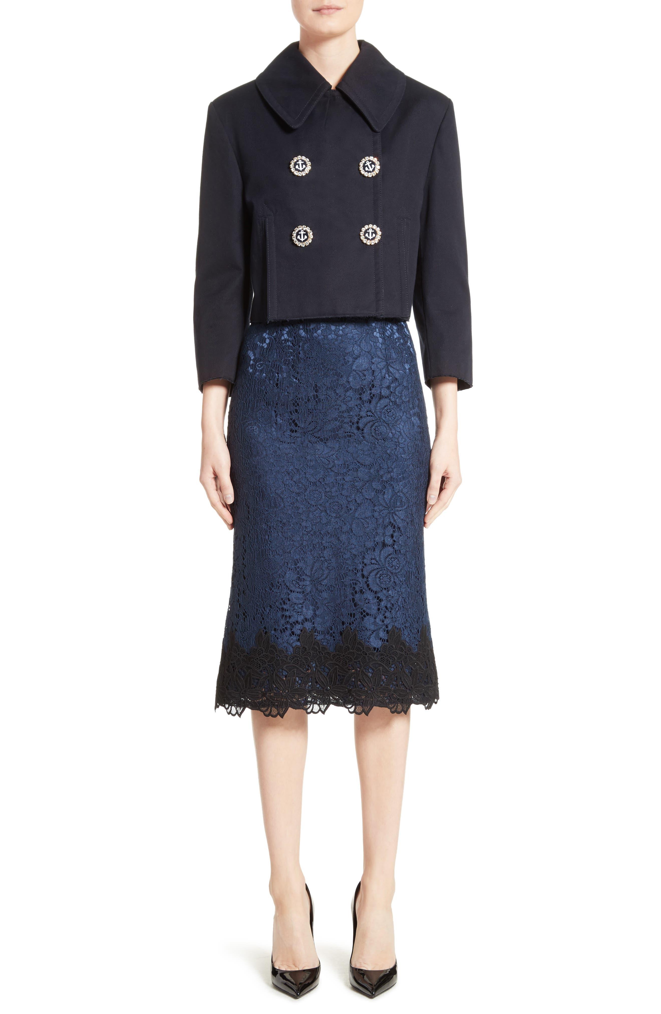 Alternate Image 6  - Dolce&Gabbana Piqué Cotton Crop Jacket