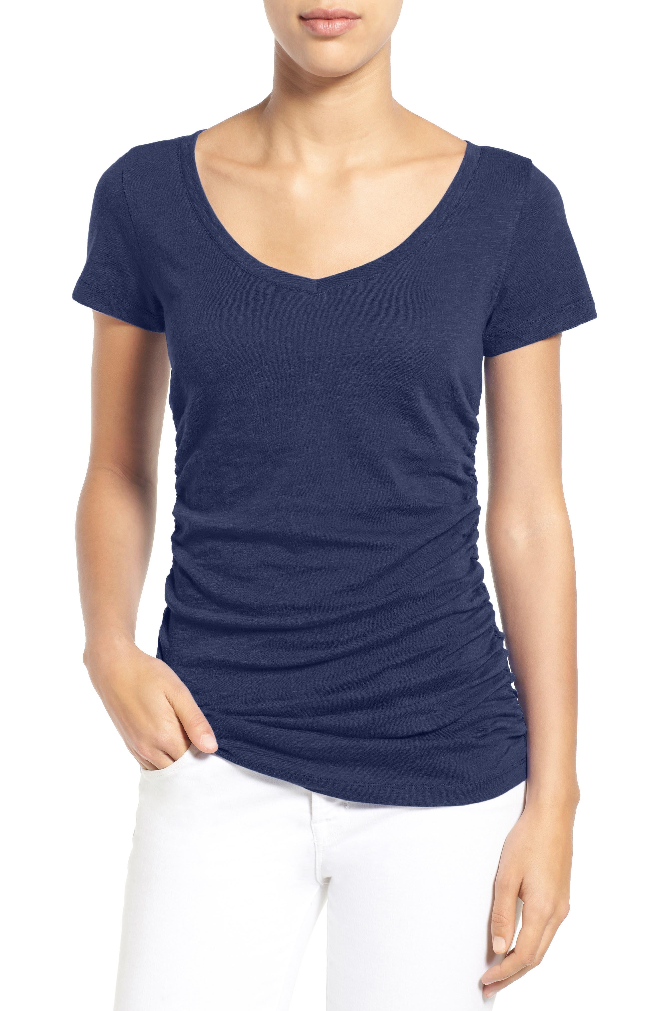 Main Image - Caslon® Shirred V-Neck Tee (Regular & Petite)