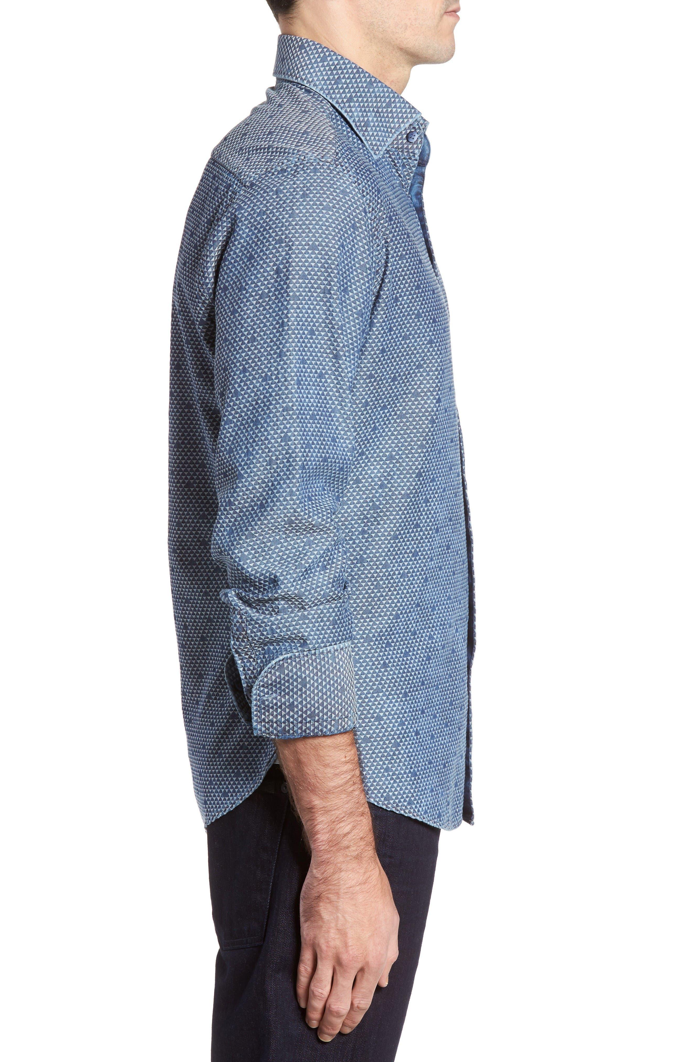 Alternate Image 3  - Stone Rose Triangle Jacquard Sport Shirt