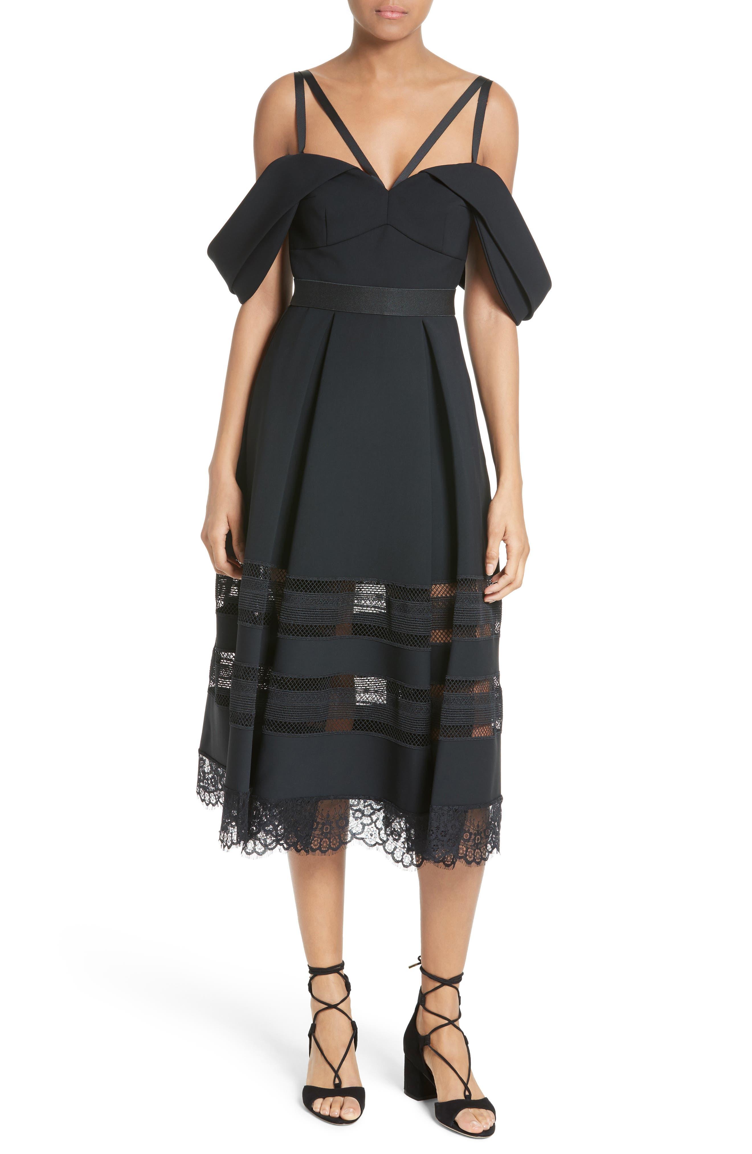 Alternate Image 1 Selected - Self-Portrait Cold Shoulder Midi Dress