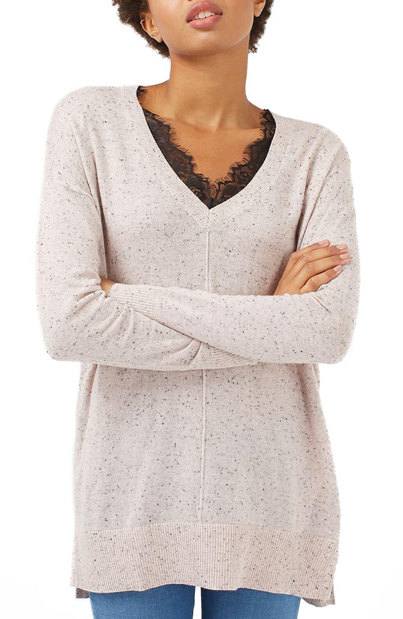 Main Image - Topshop Lace V-Neck Sweater Tunic