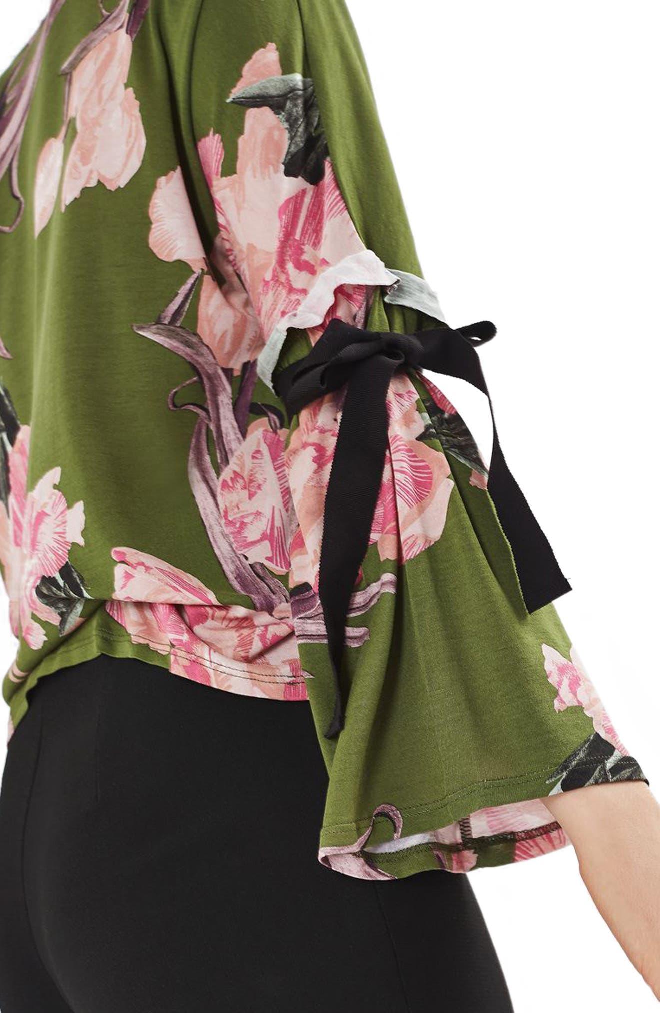 Alternate Image 5  - Topshop Floral Tie Flute Sleeve Top