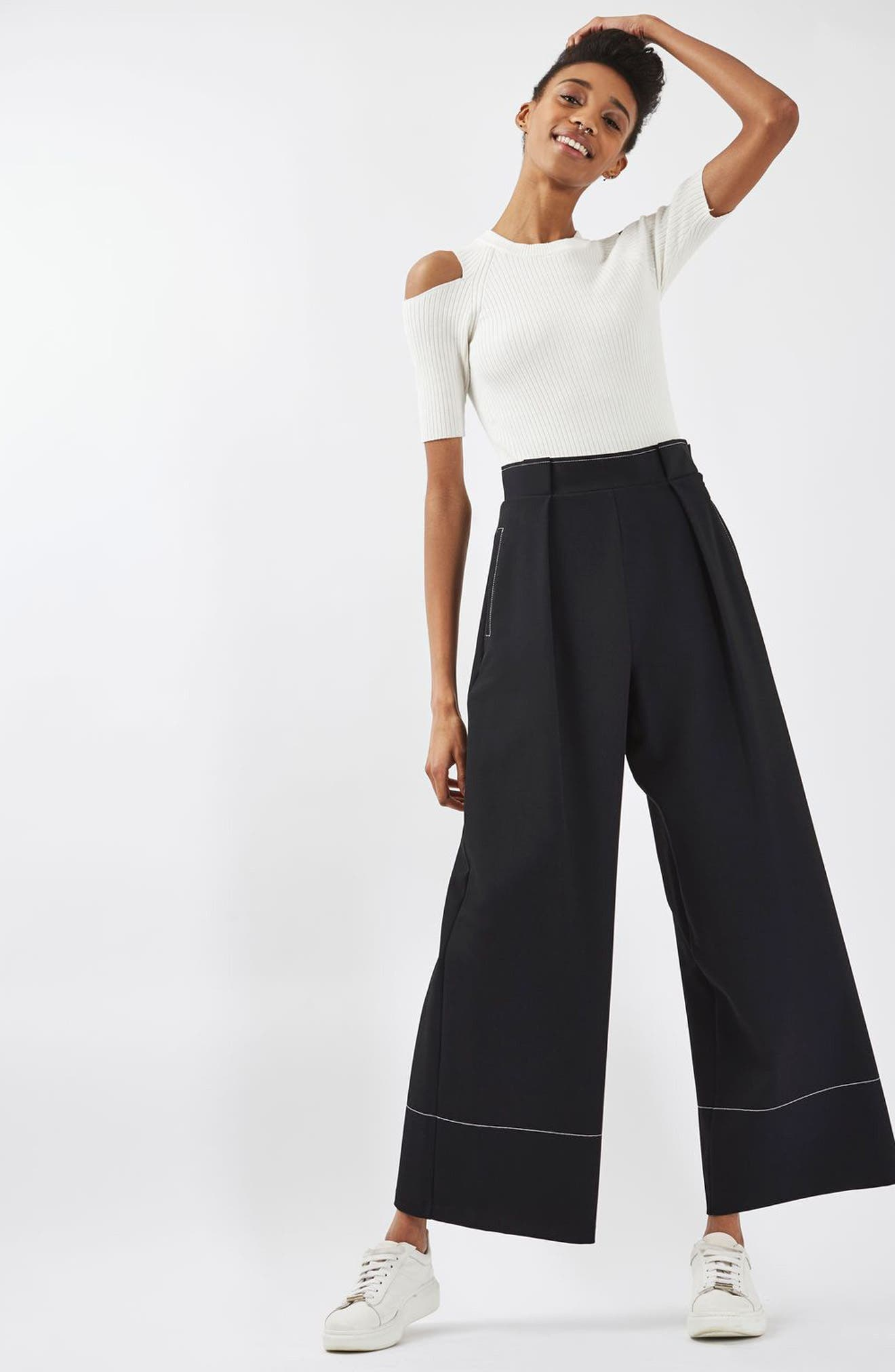 Alternate Image 2  - Topshop Stitched Wide Leg Trousers