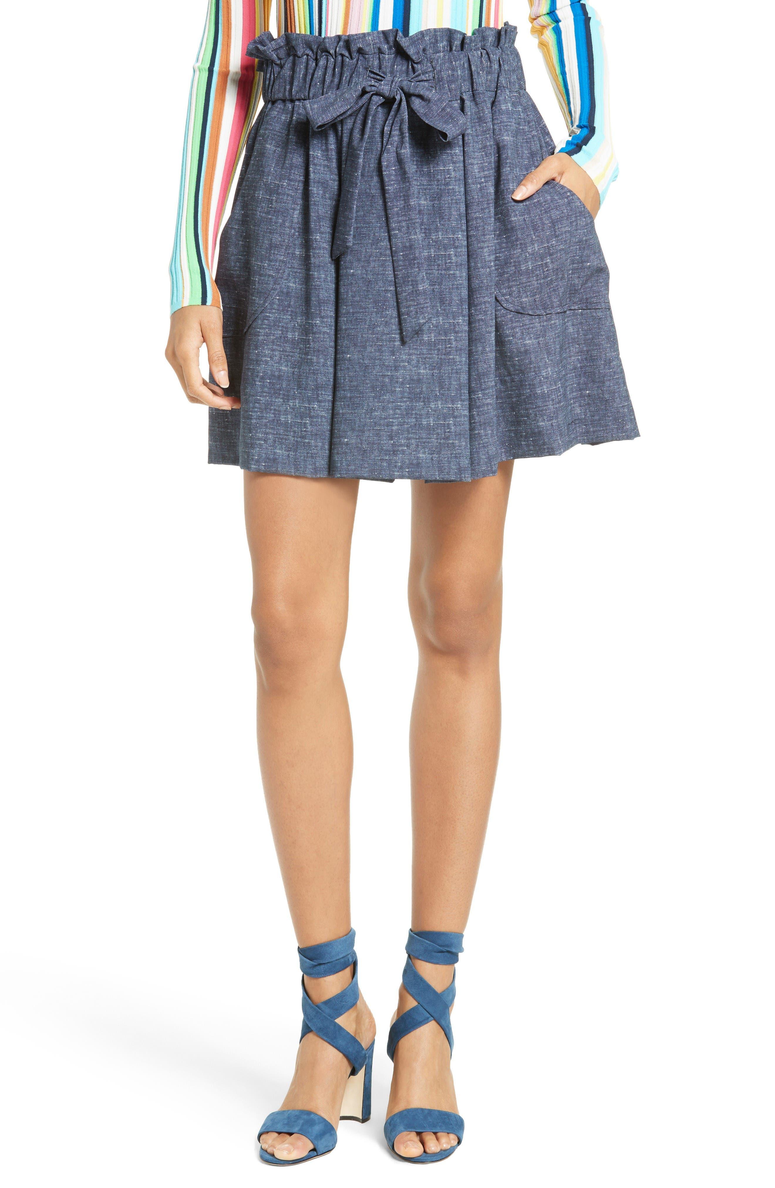 Milly Denim Print Crepe Tie Waist Skirt