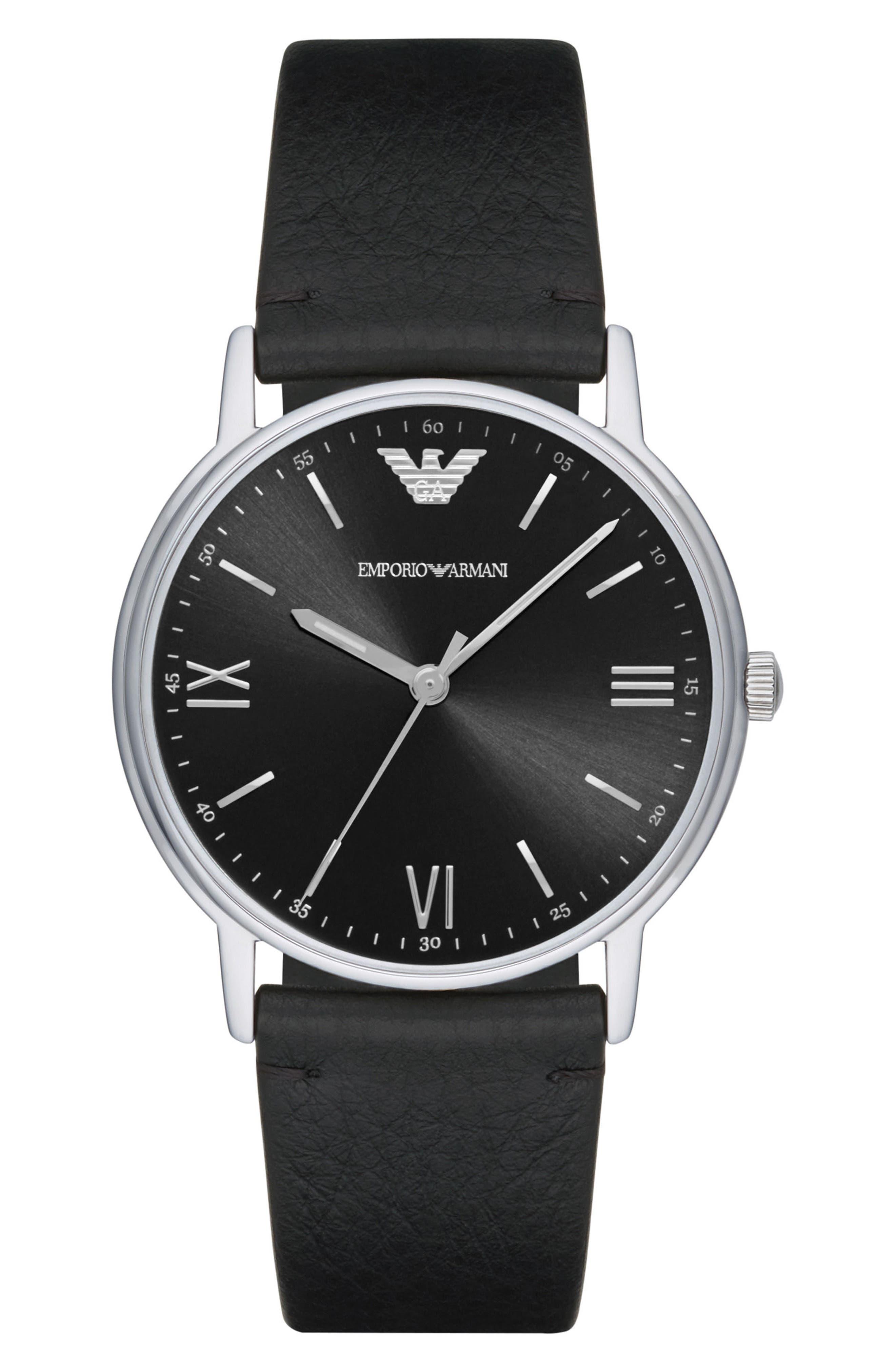 Emporio Armani Leather Strap Watch, 41mm