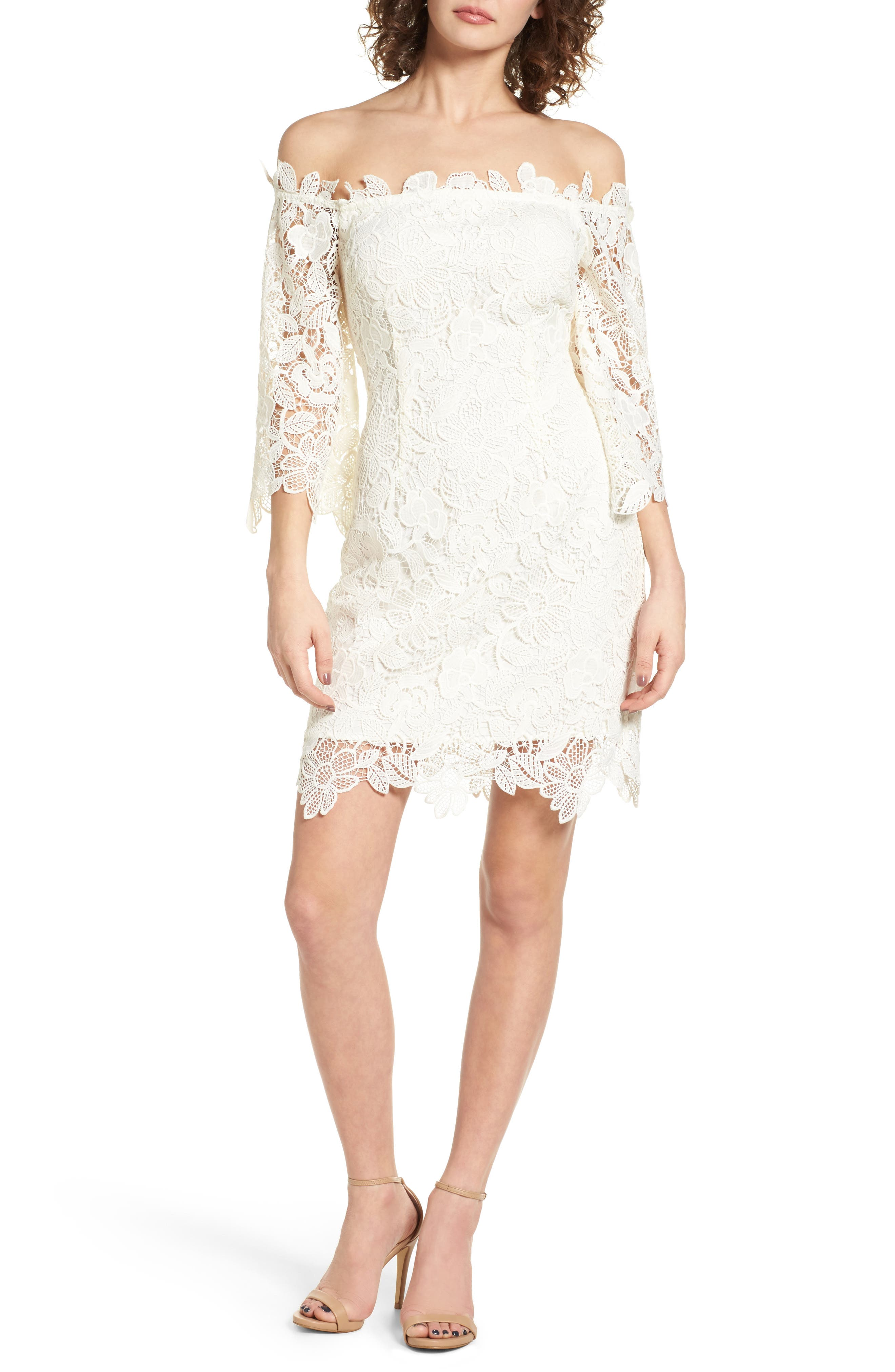 Alternate Image 1 Selected - ASTR the Label Madeline Off the Shoulder Lace Minidress