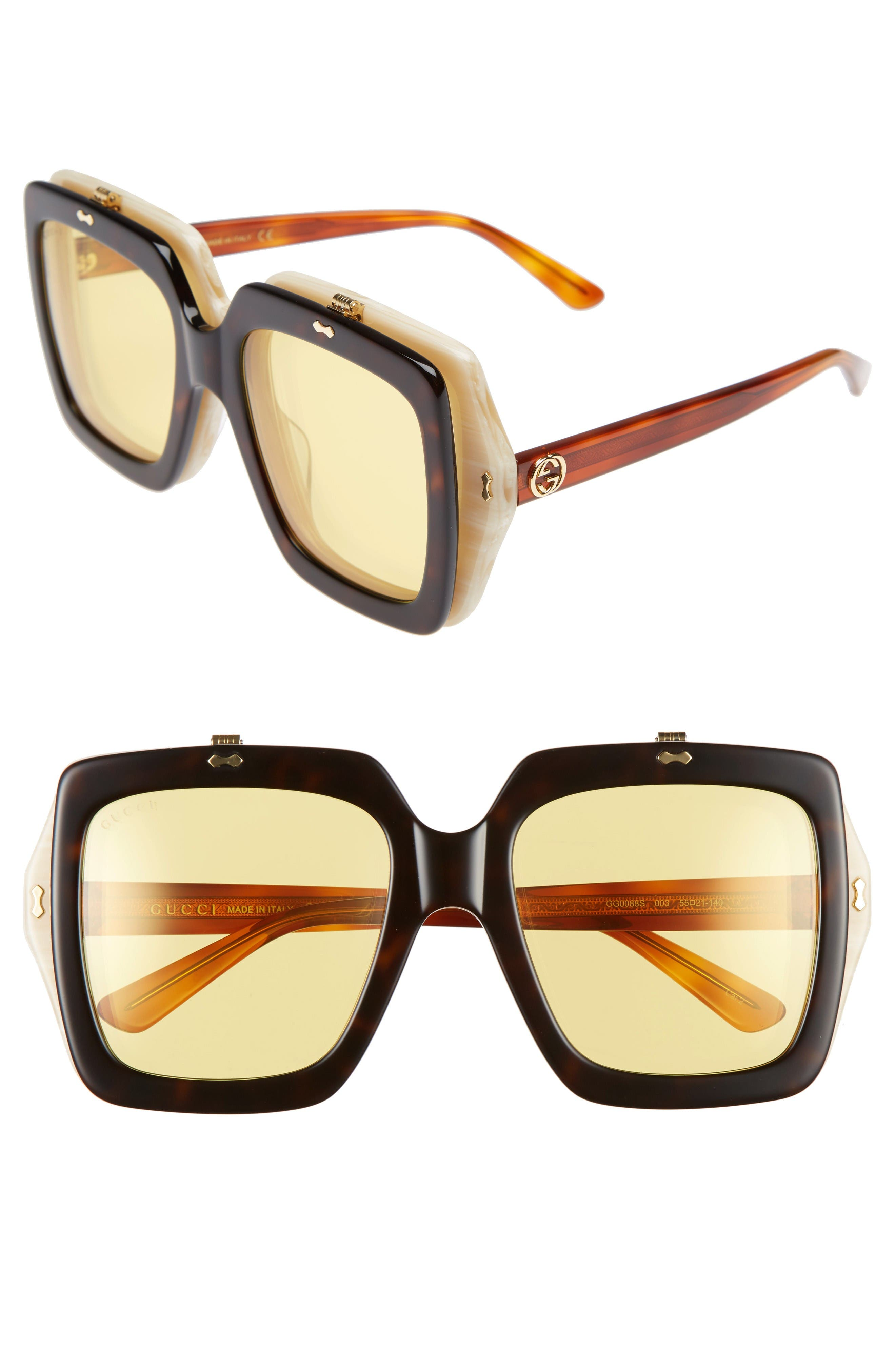 Alternate Image 1 Selected - Gucci 55mm Flip-Up Sunglasses