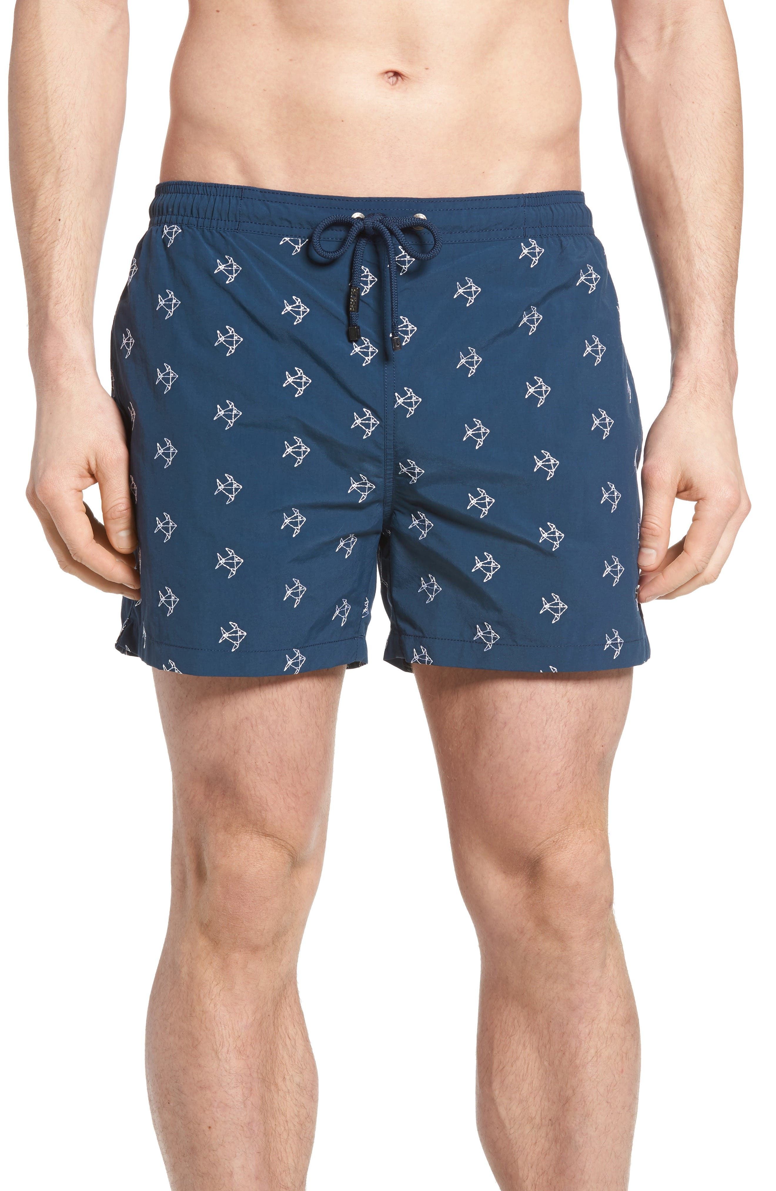 BOSS Shark Embroidered Swim Trunks